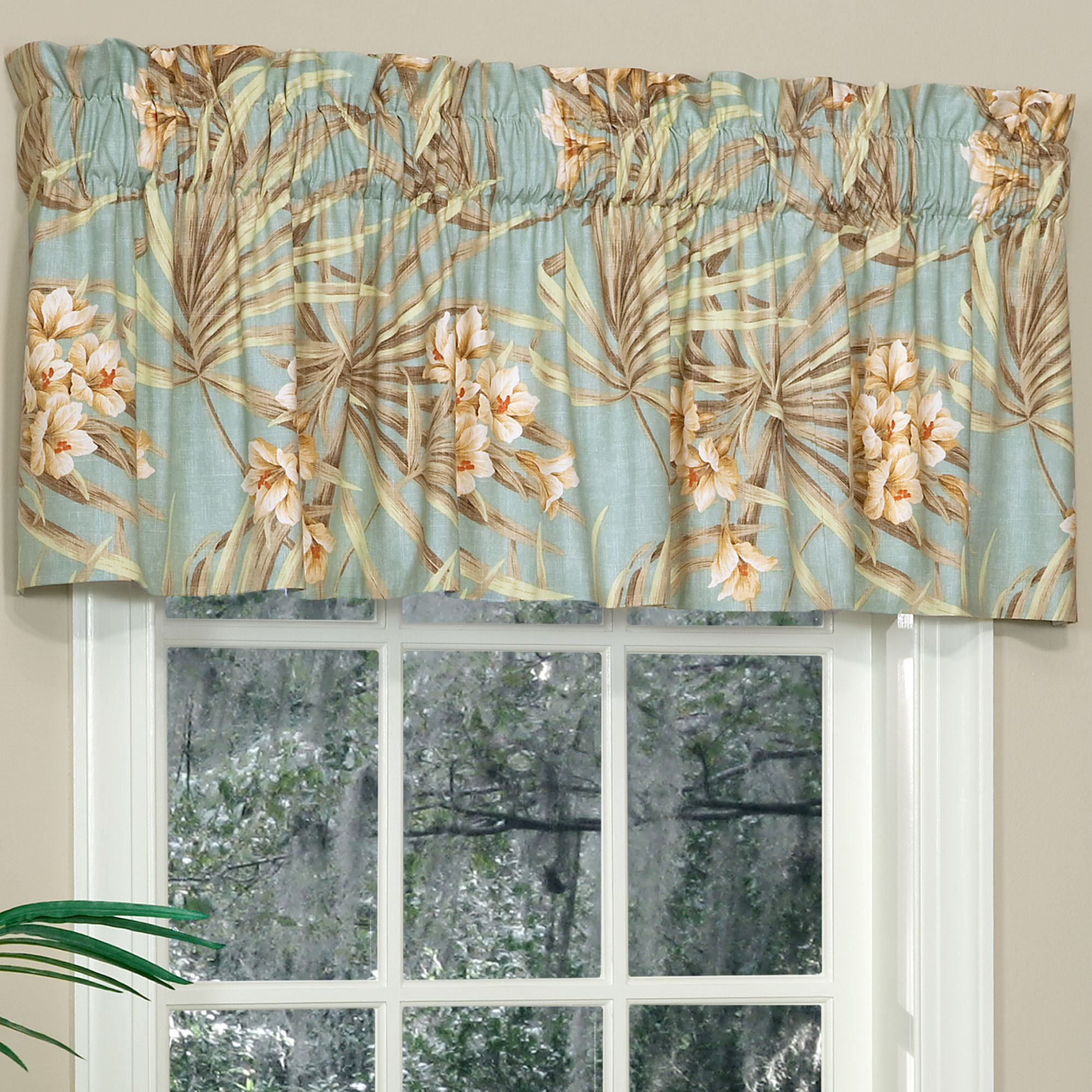Martinique Tailored Valance Turquoise 72 X 16
