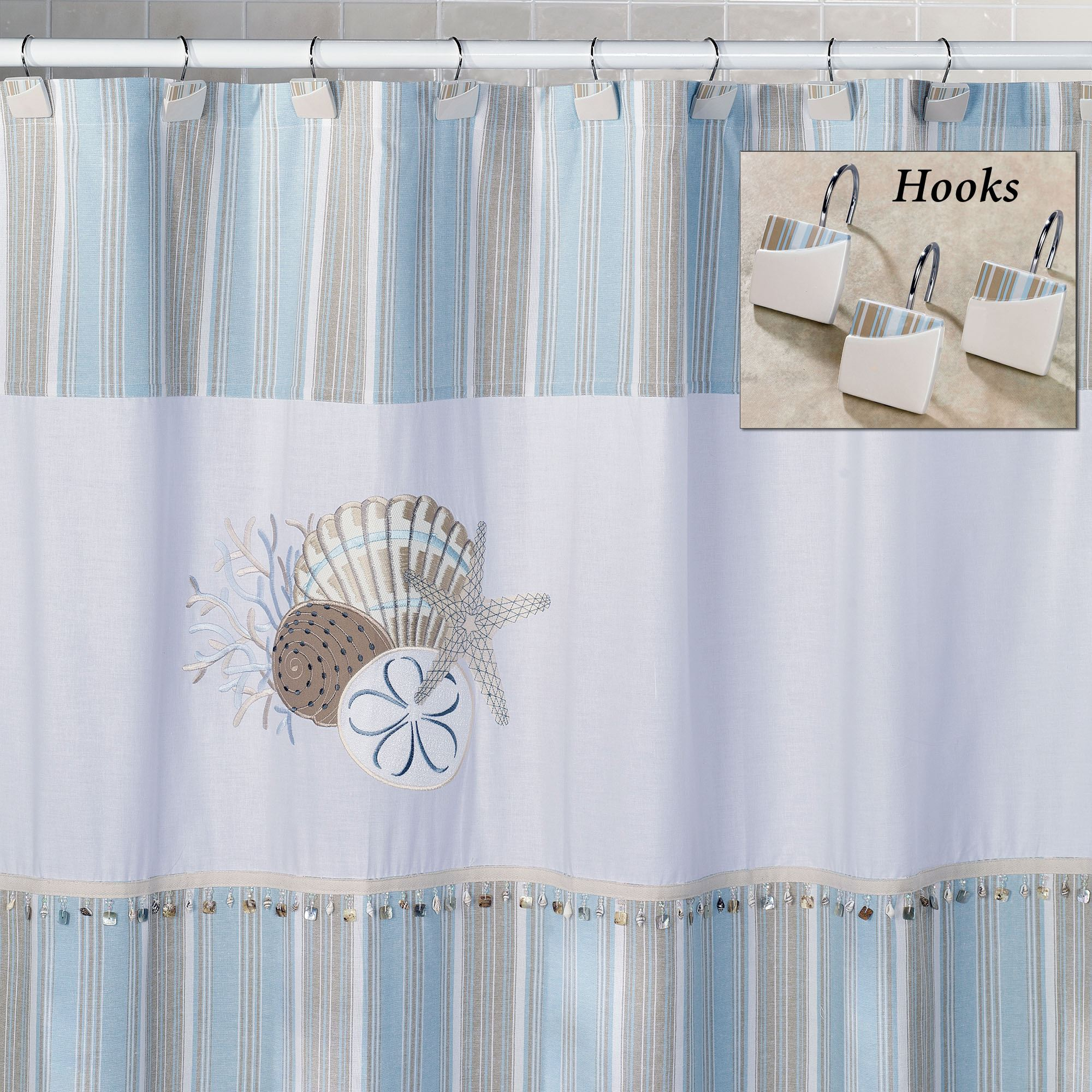 By The Sea Shower Curtain And Hooks