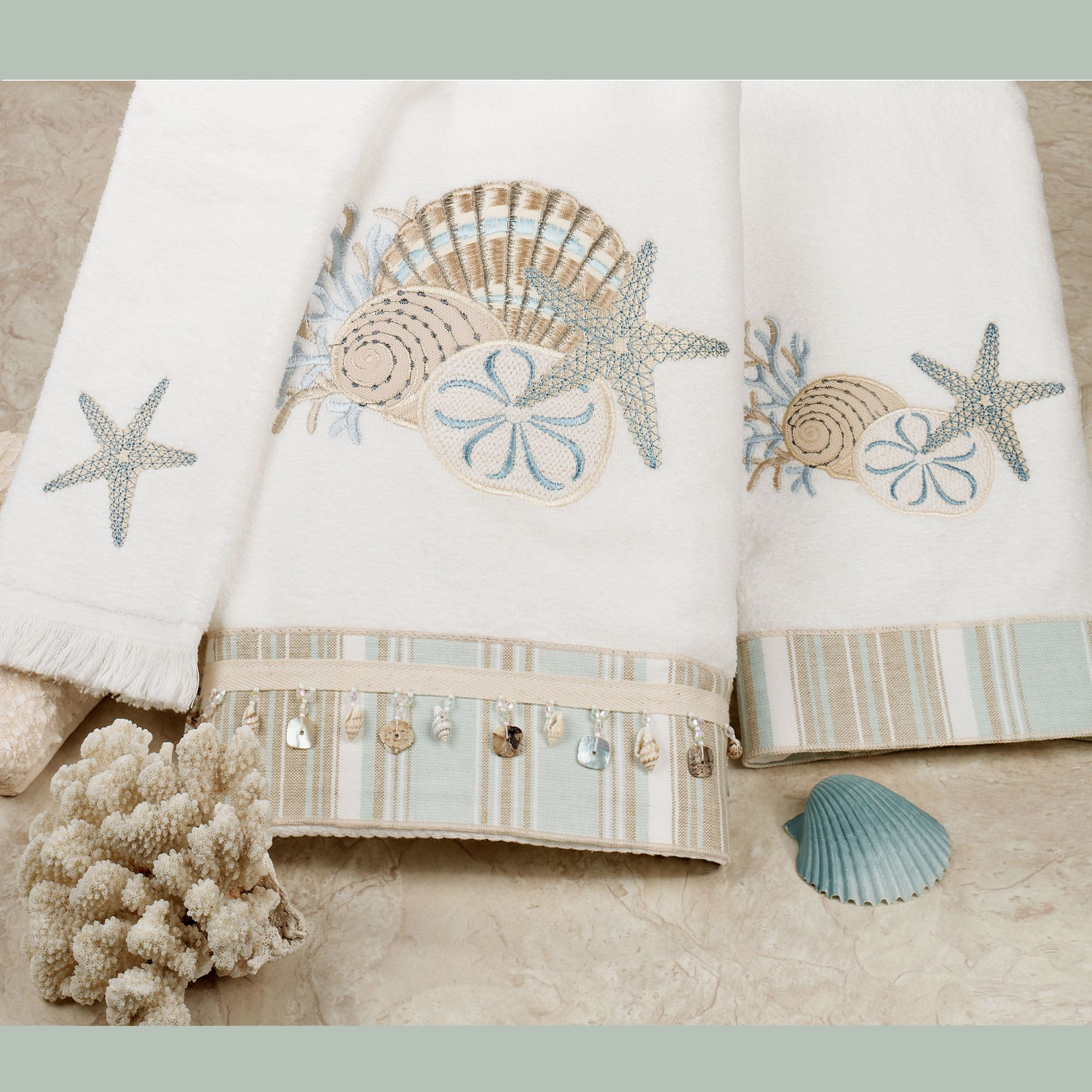 By the sea embroidered bath towels for Sea bathroom set