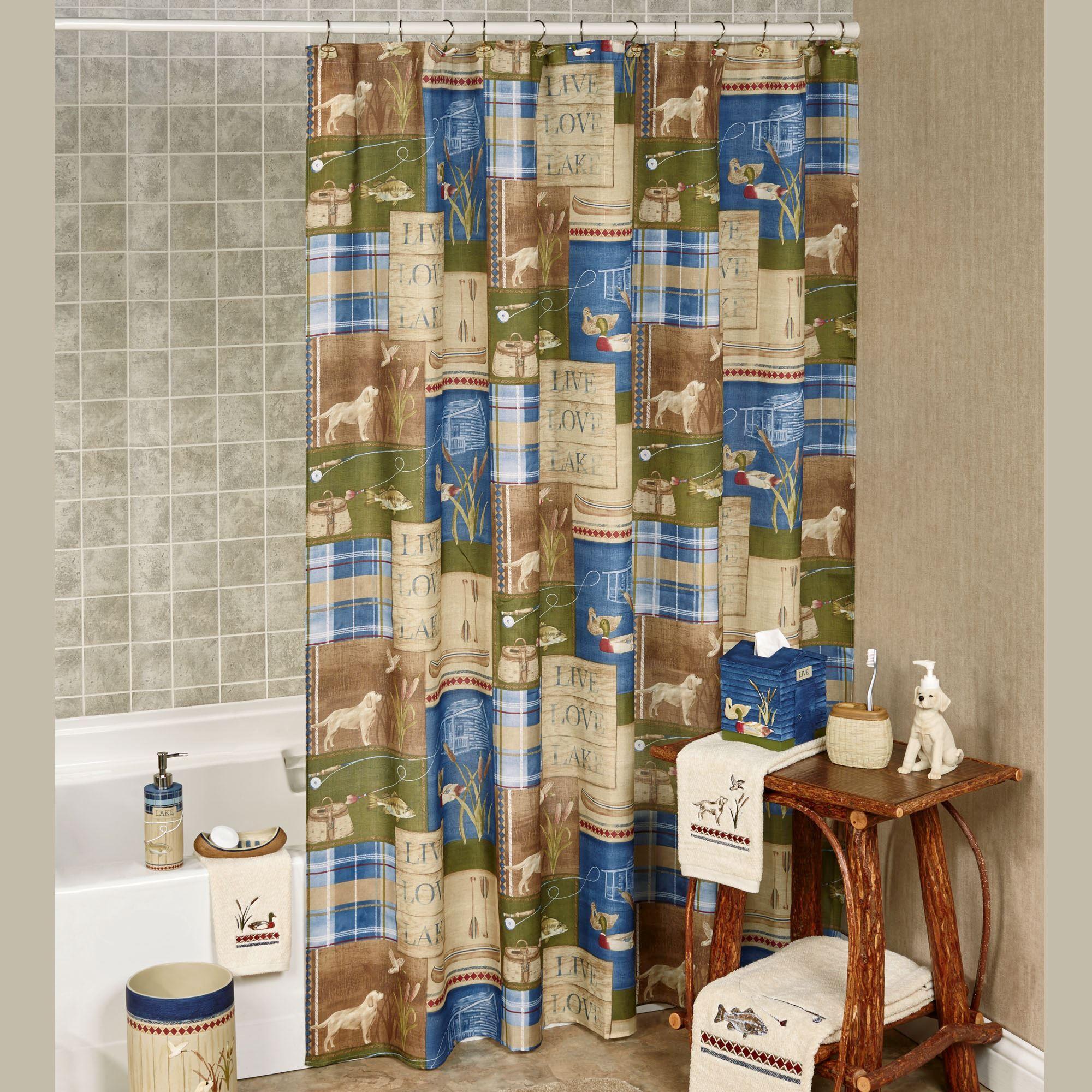 Live Love Lake Rustic Shower Curtain