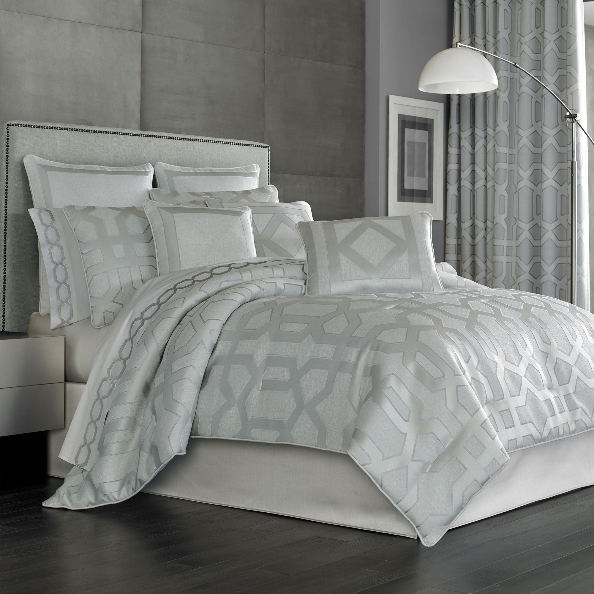 Kennedy Silver And Platinum Gray Comforter Bedding By Five Queens Court