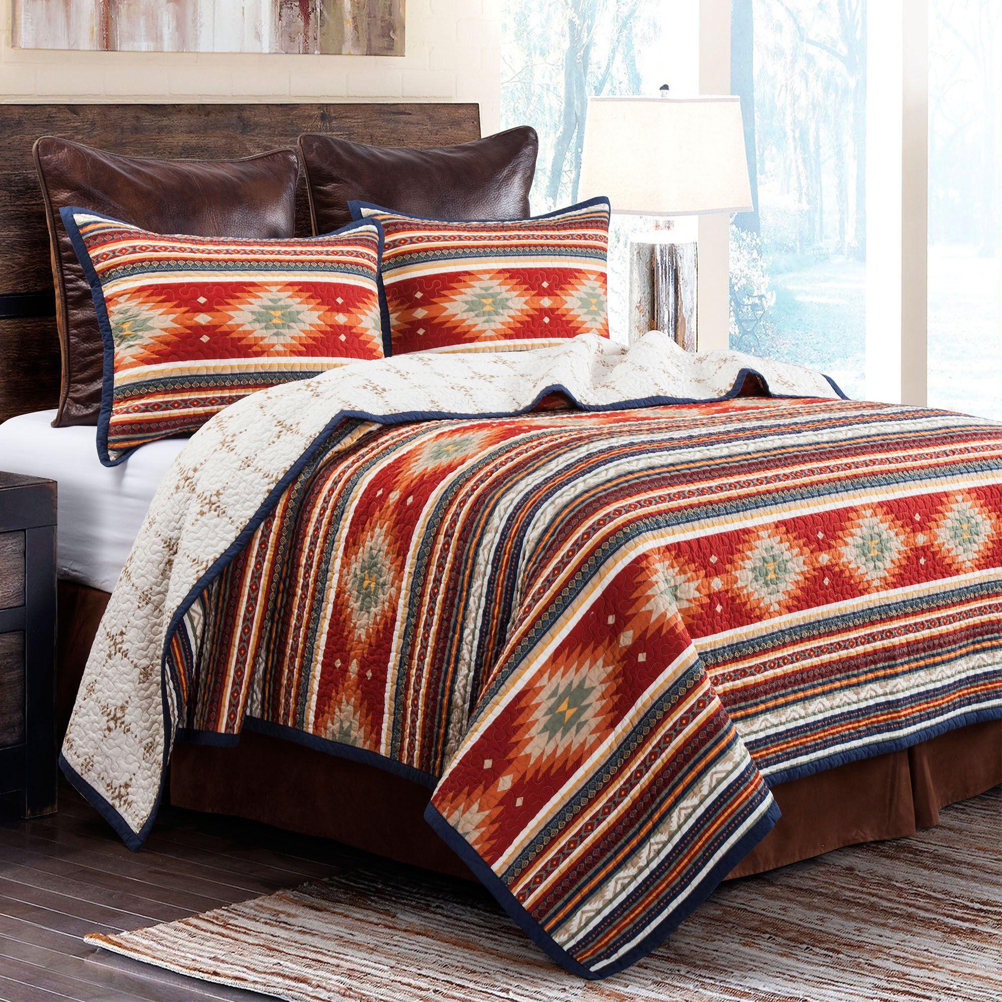 Del Sol Reversible Striped Southwest Mini Quilt Set Bedding