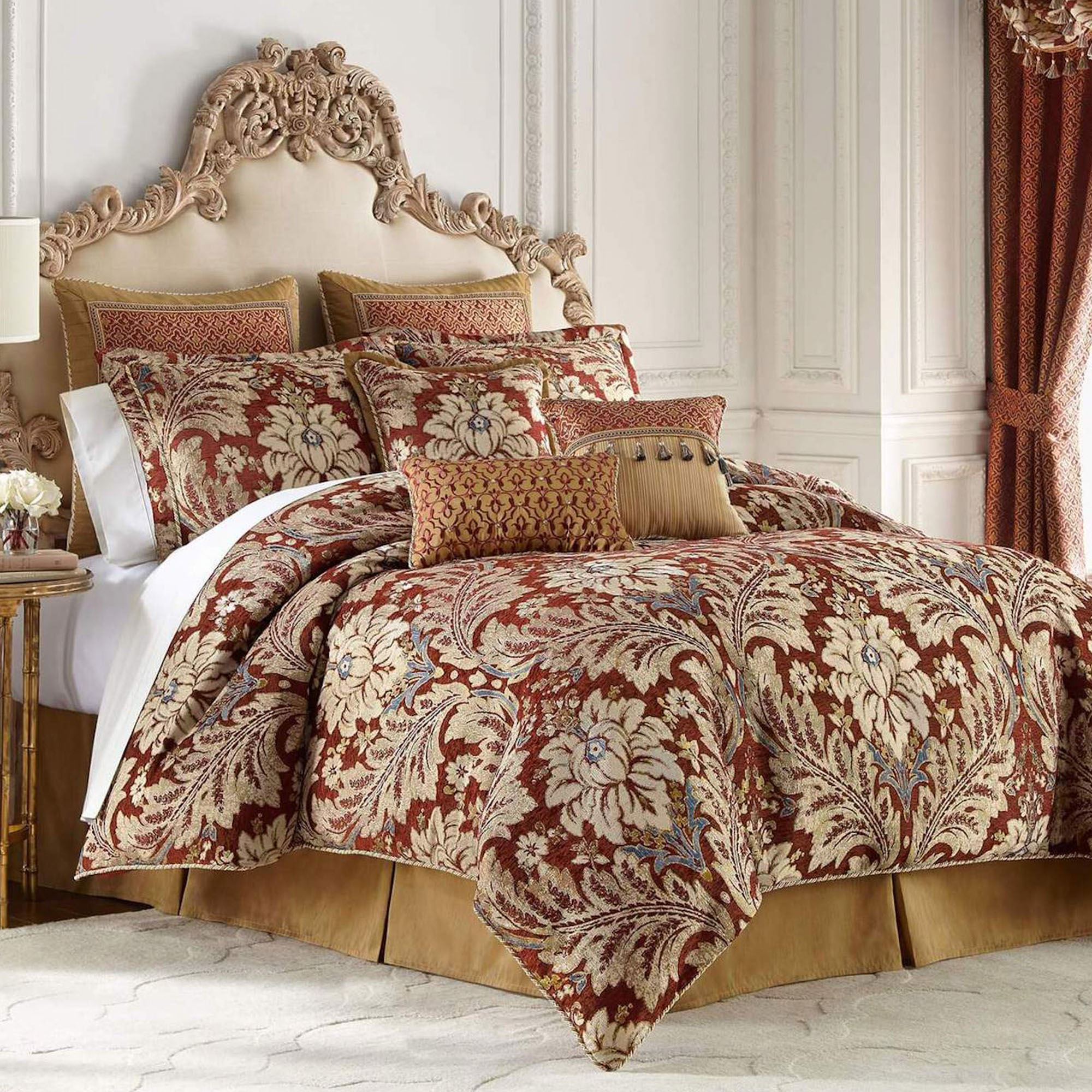 Arden Acanthus Leaf Damask Burgundy And Gold Comforter