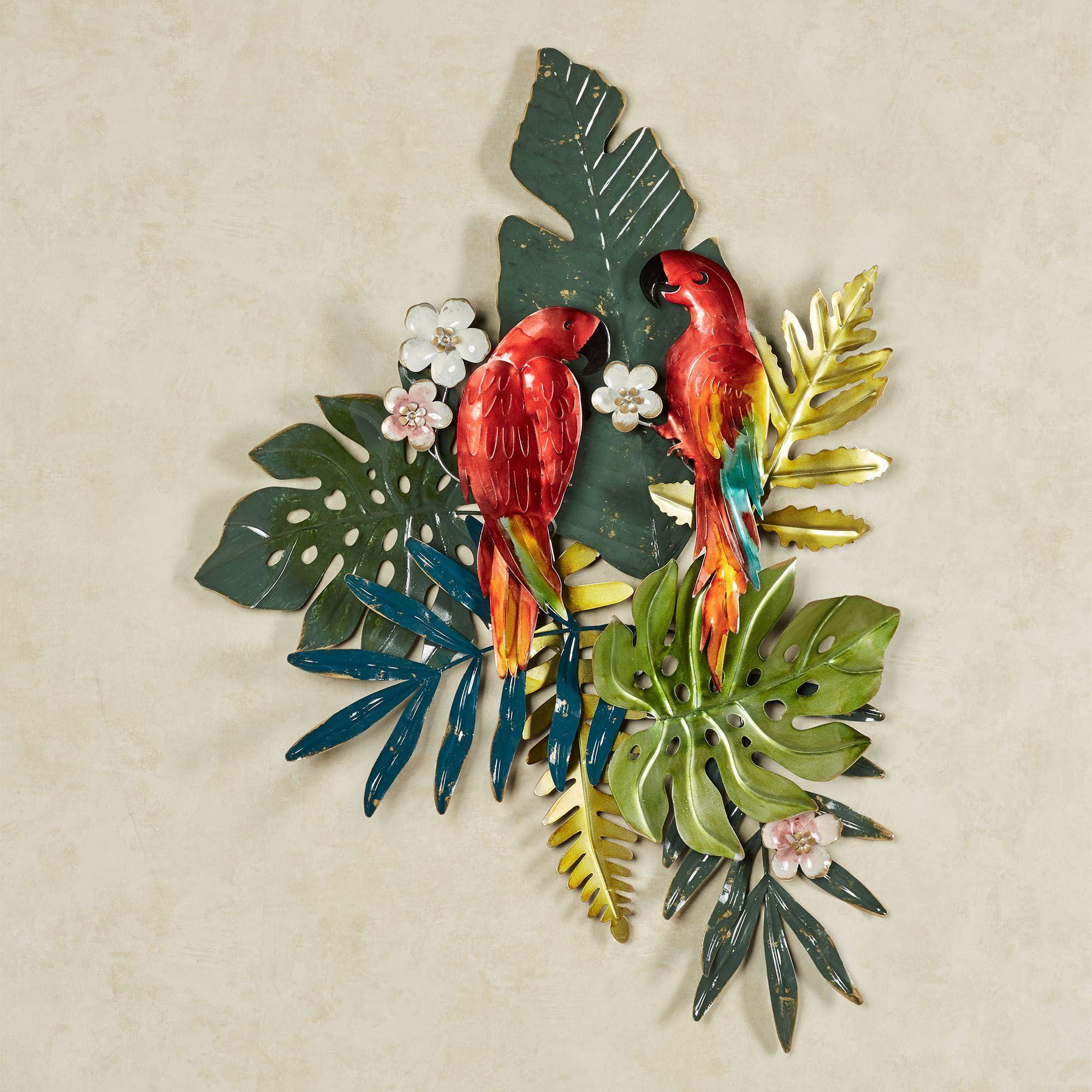 Island Parrots Tropical Metal Wall Art