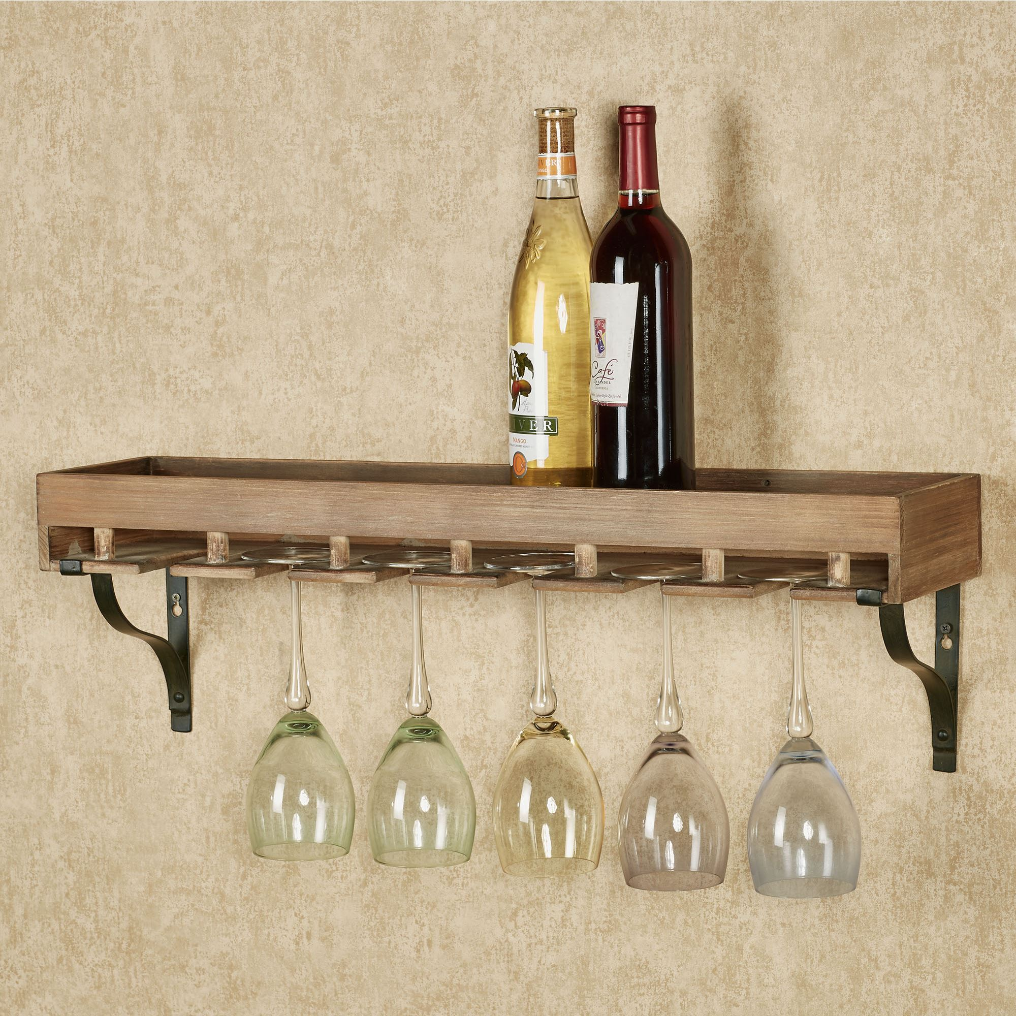Wine Storage Wall Shelf With Stemware Rack