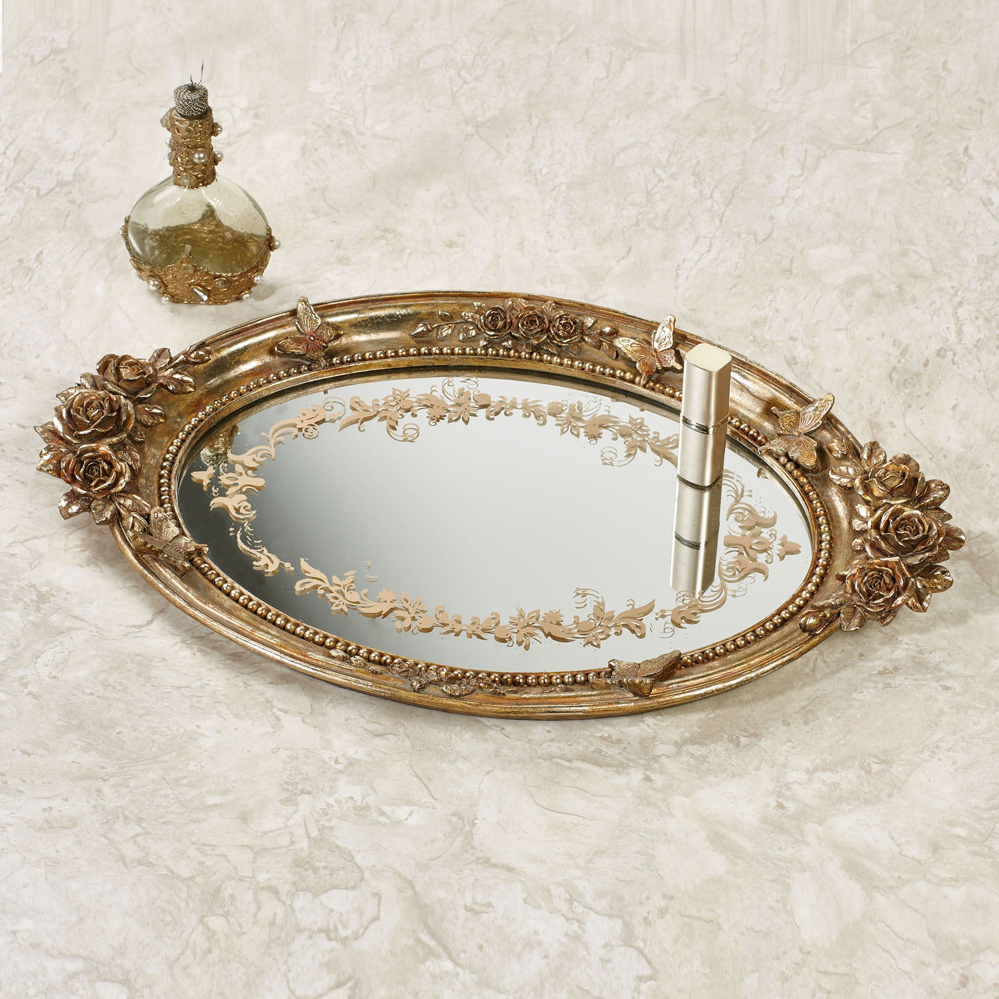 Butterfly In Roses Venetian Gold Mirrored Vanity Tray