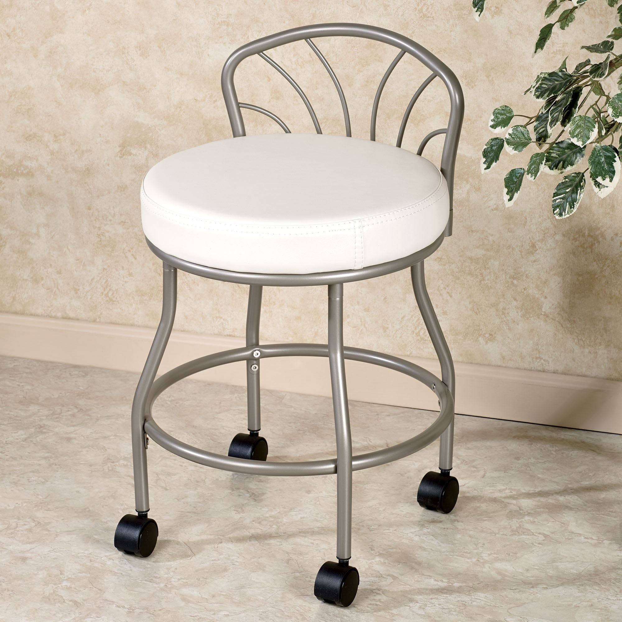 vanity chair with back Flare Back Powder Coat Nickel Finish Vanity Chair with Casters vanity chair with back