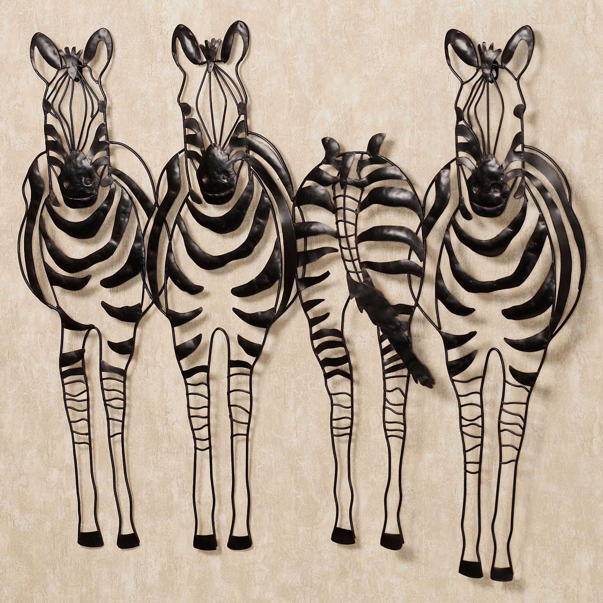 Charmant You Go Your Way Zebra Metal Wall Sculpture Art