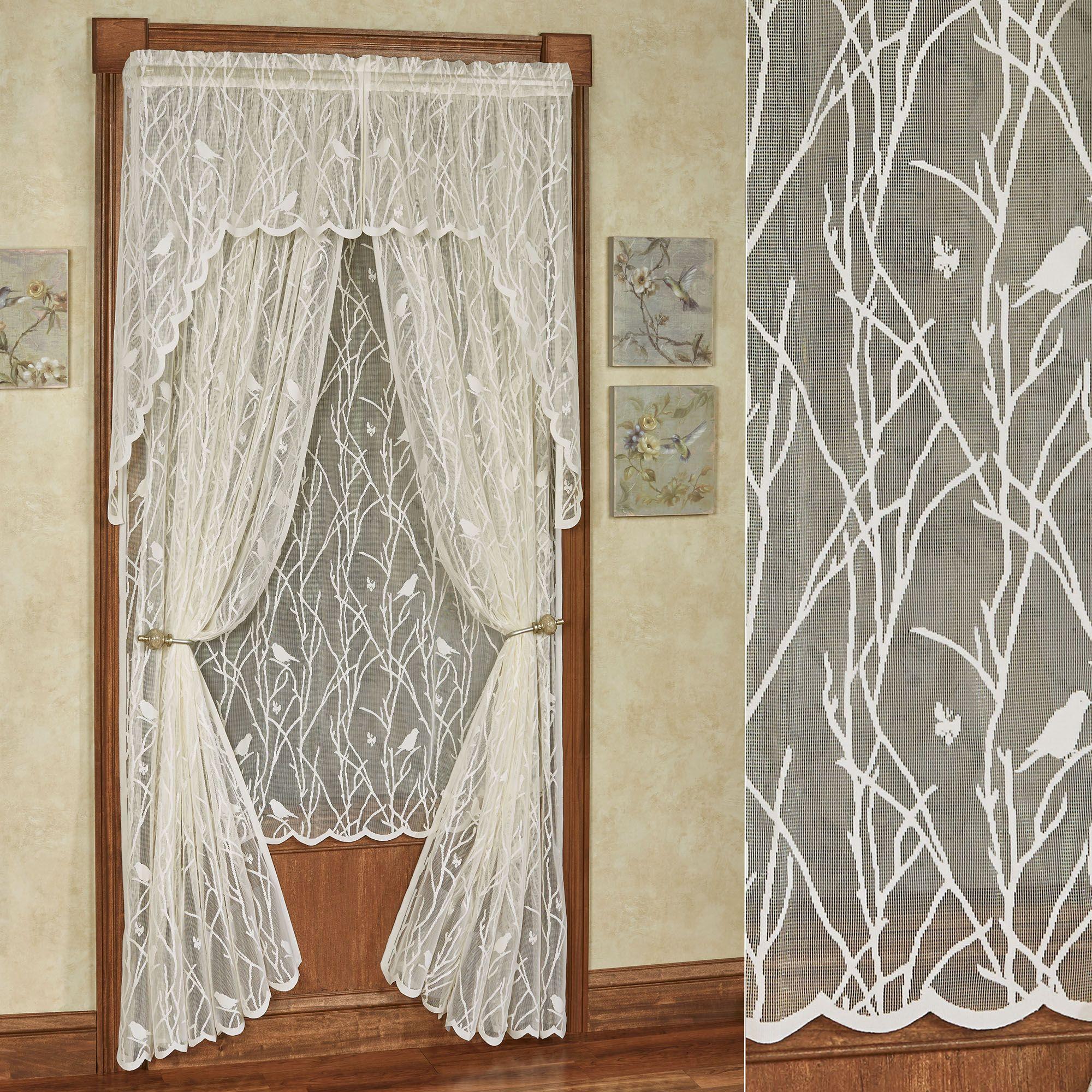 Troubadour Birds Lace Curtain Window Treatment