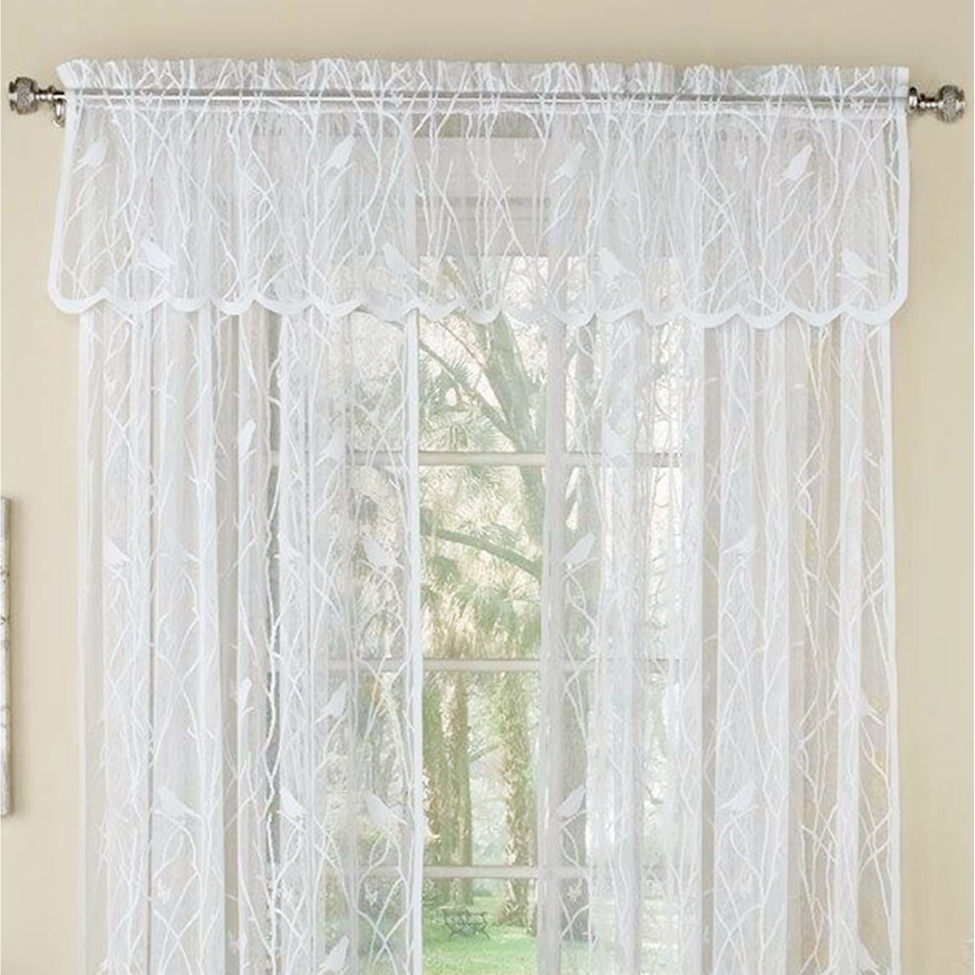 Troubadour Birds Lace Curtain Window Treatment