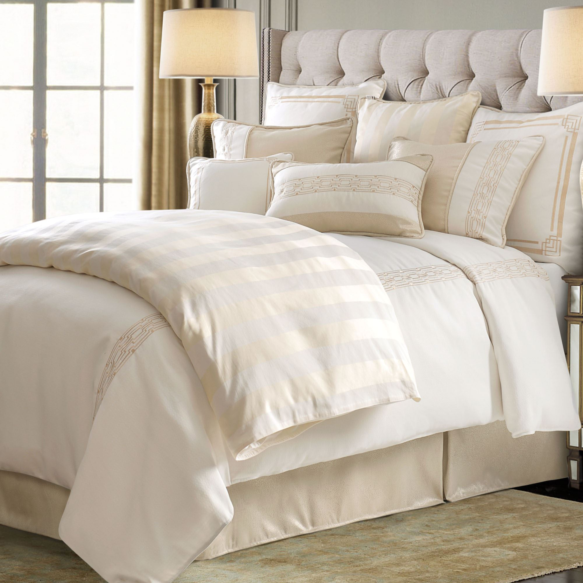 Hollywood Off White Embroidered Comforter Bedding