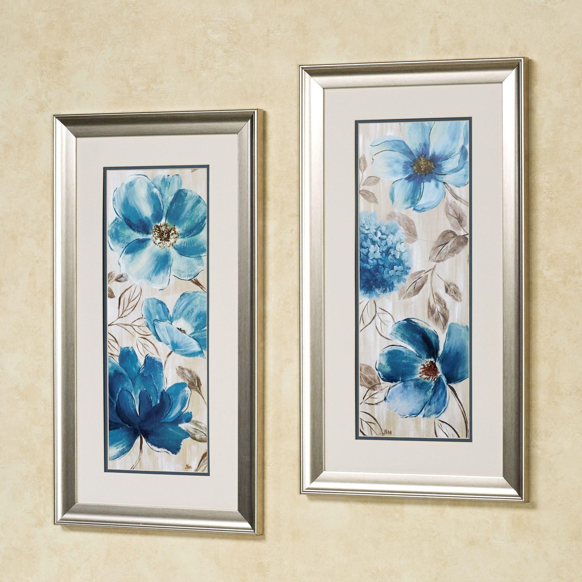 Blue Garden Floral Framed Wall Art Set