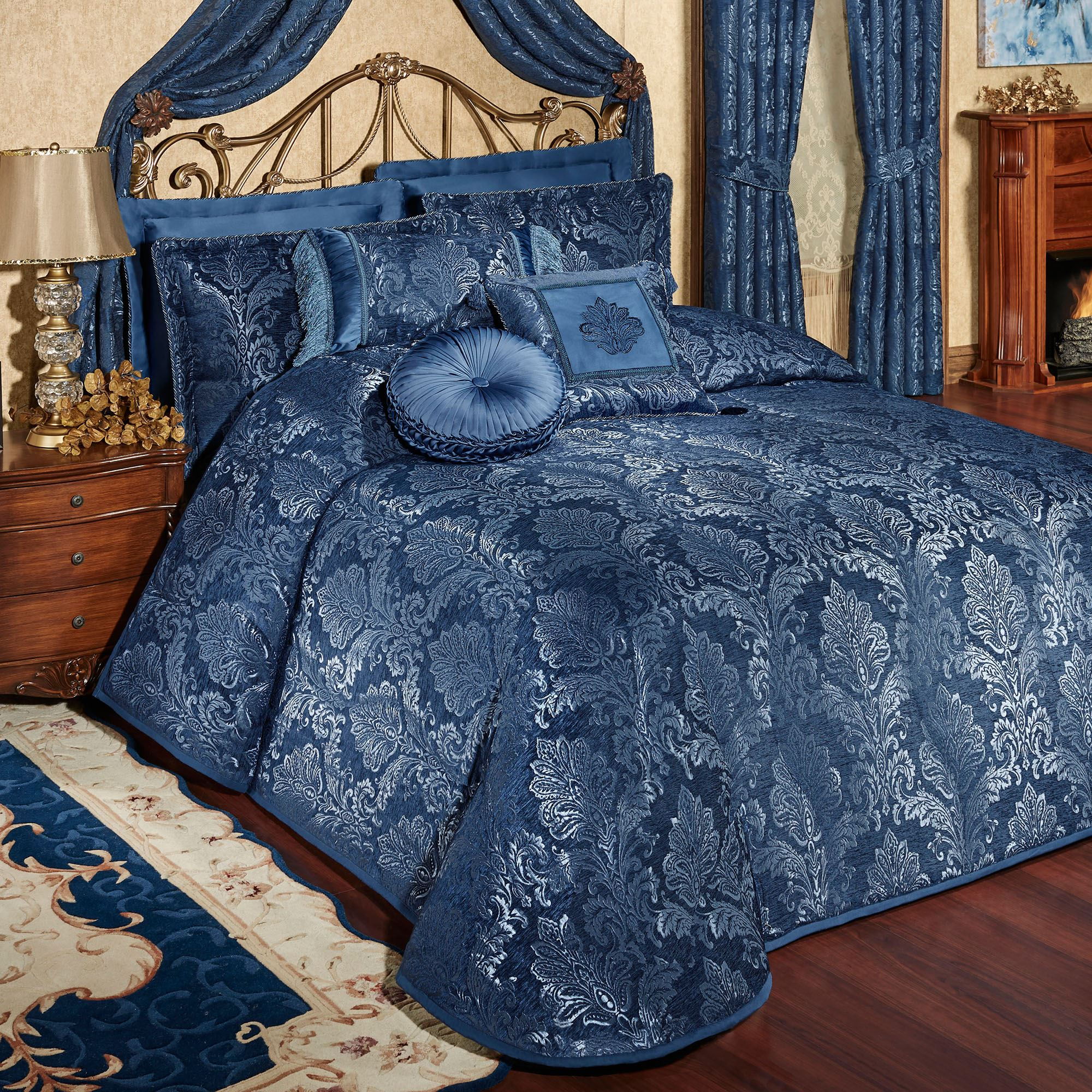Camelot Navy Quilted Oversized Bedspread Bedding