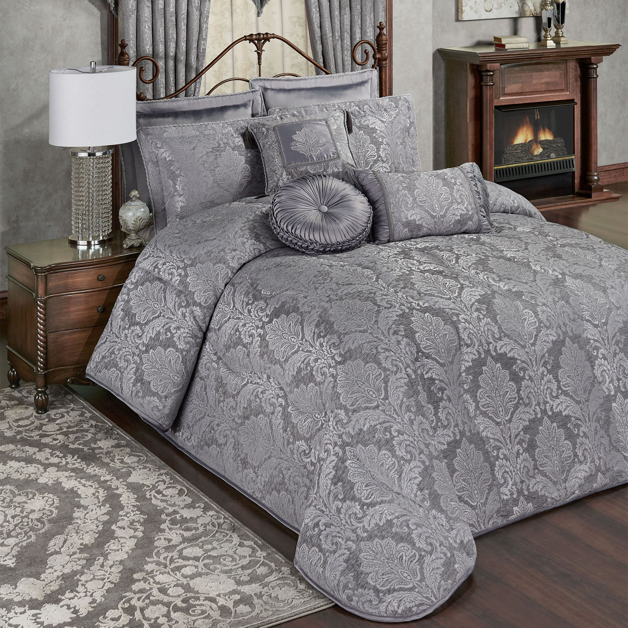 Camelot Warm Gray Damask Quilted Oversized Bedspread Bedding