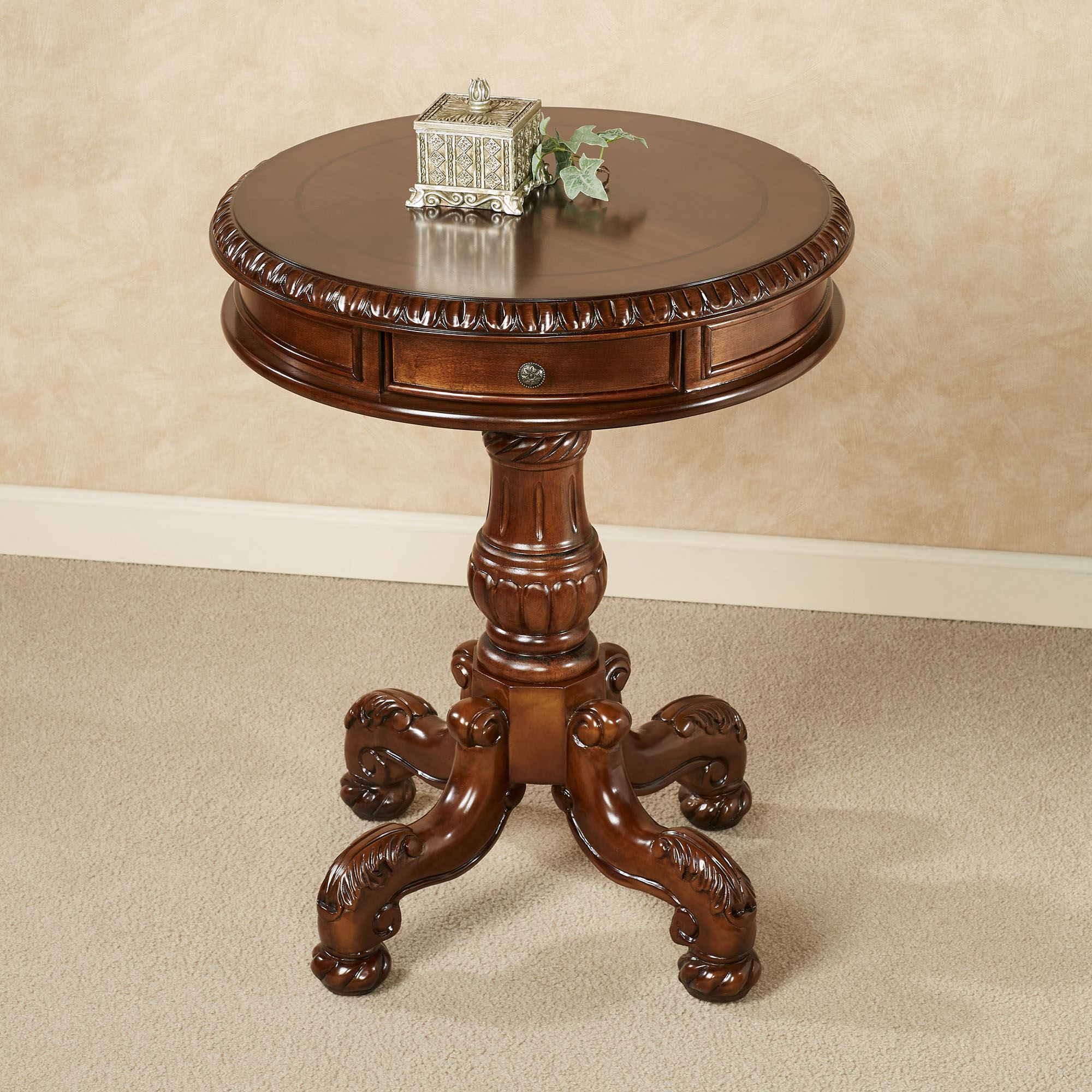 Cortona round pedestal table for Small bathroom accent tables