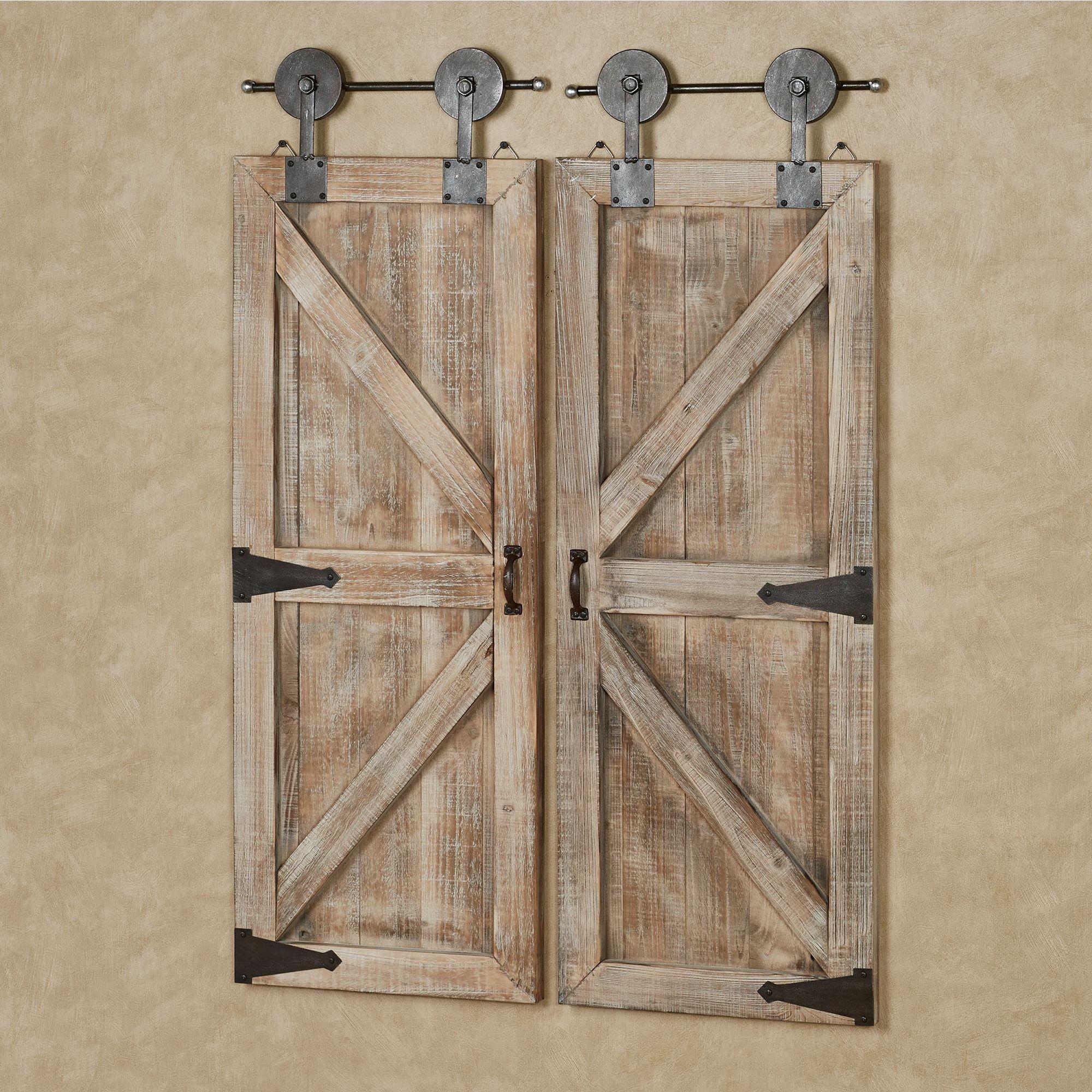 Accent Wall Behind Barn Doors: Sliding Barn Door Farmhouse Style Wooden Wall Accent Set