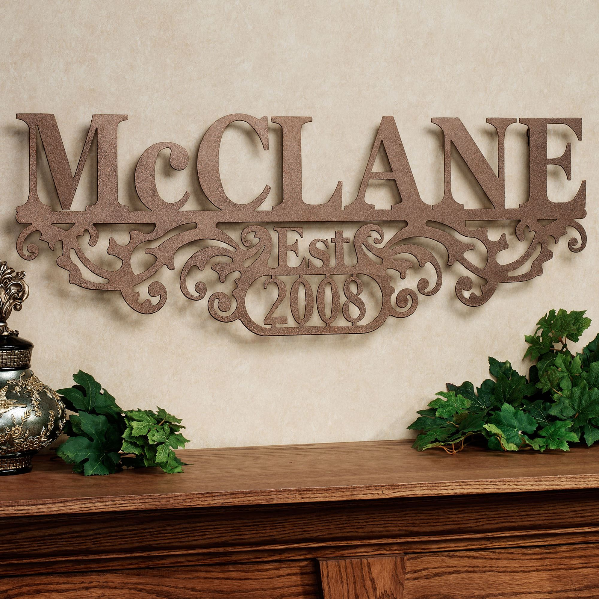 Kinship Bronze Family Name And Year Personalized Metal Wall Art Sign