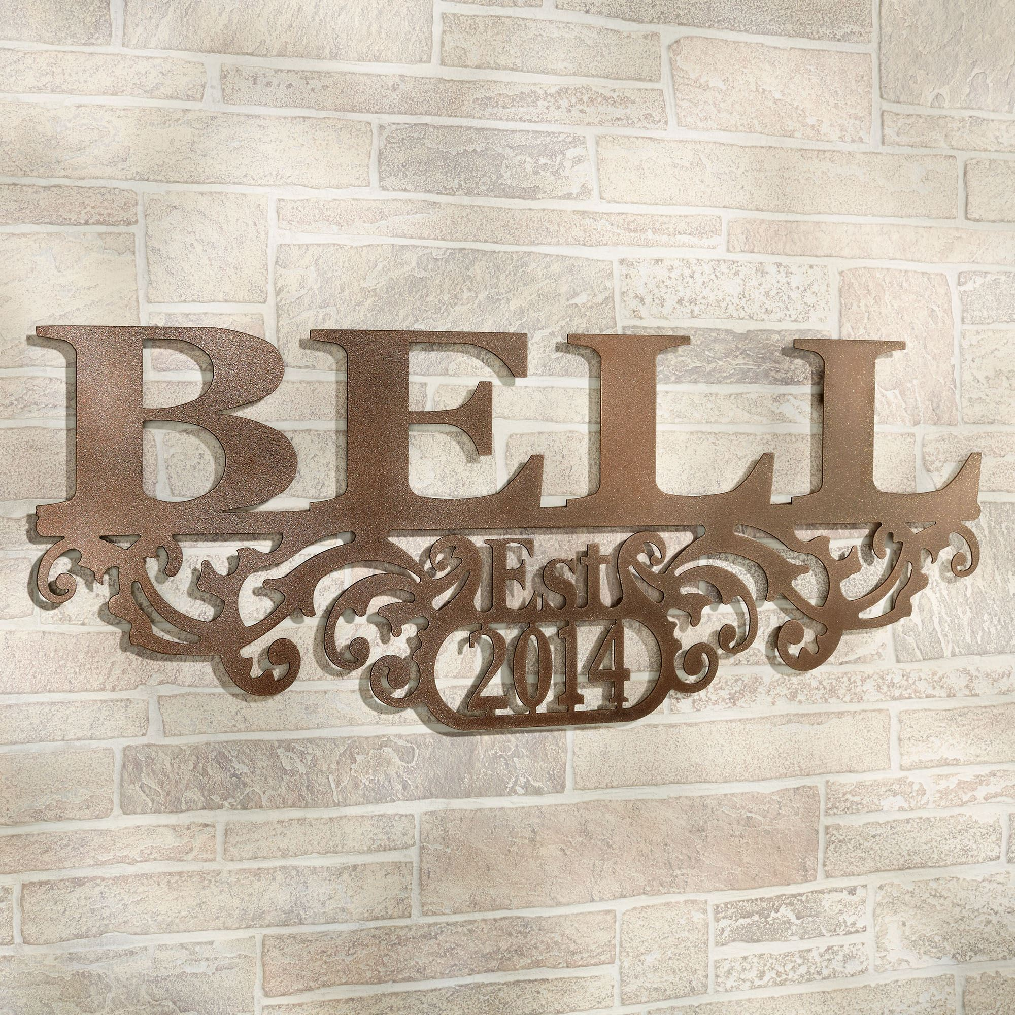 Good Kinship Name And Year Wall Art Sign Brown