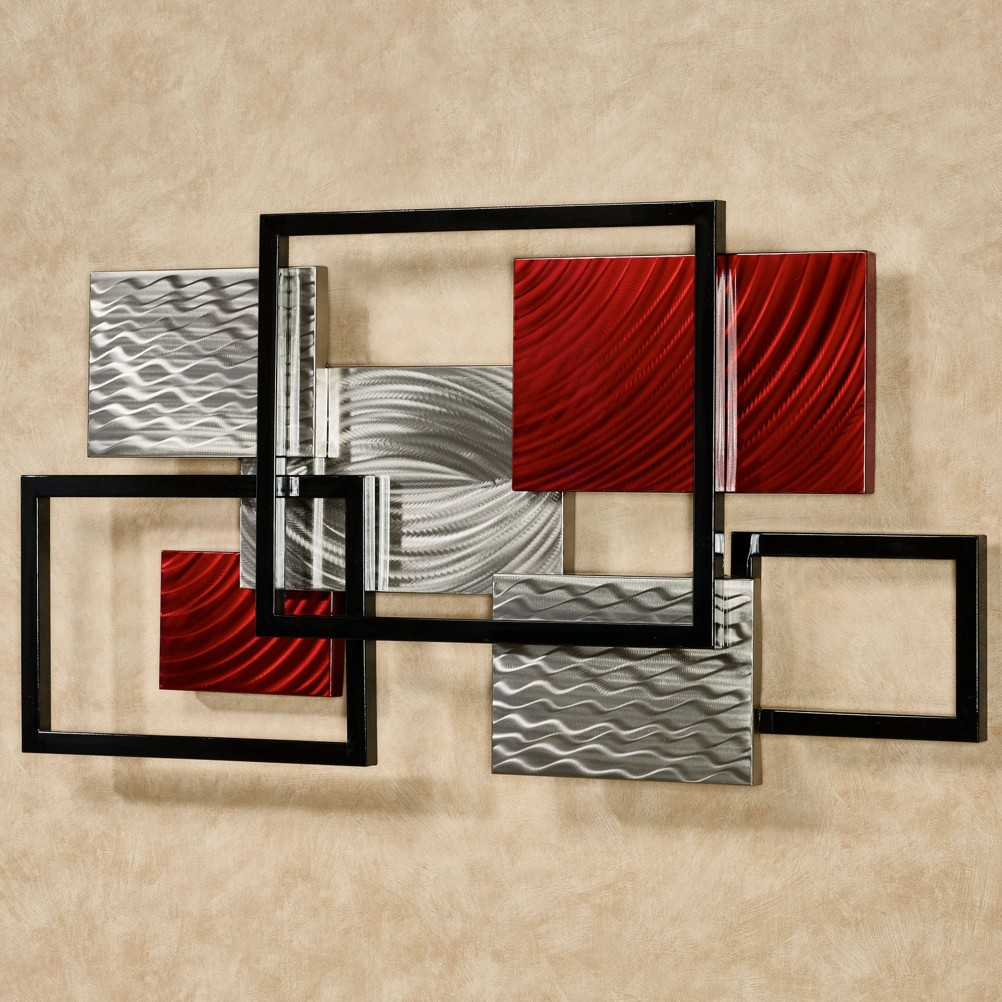 Red Metal Wall Art Framed Array Indoor Outdoor Abstract Metal Wall Sculpture