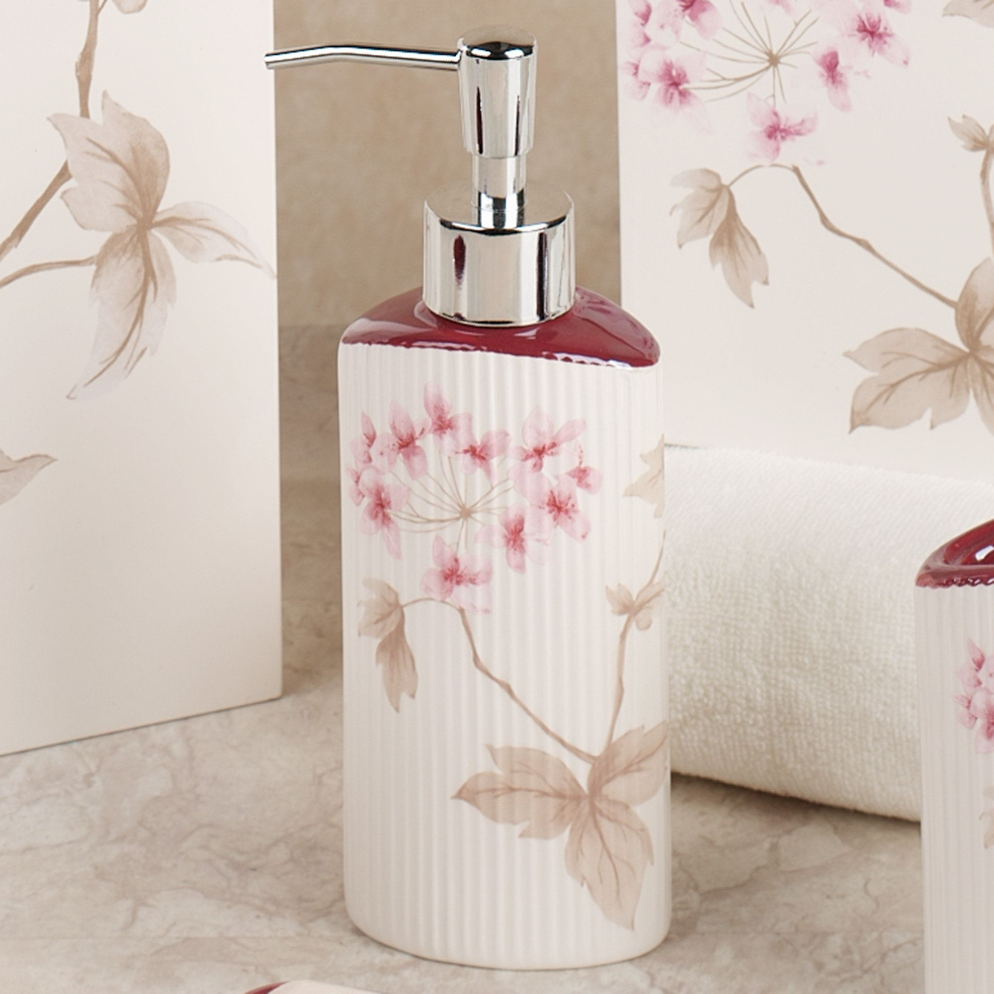 bathroom soap dispensers bath accessories. Christina Red Lotion Soap Dispenser Ivory Cherry Blossom Bath Accessories by Croscill