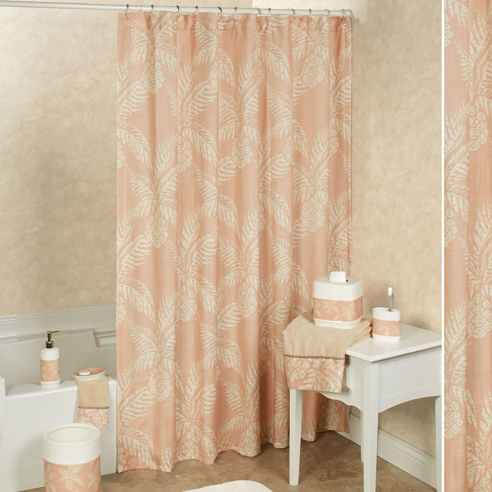 Pineapple Paradise Shower Curtain Blush 72 X Touch To Zoom