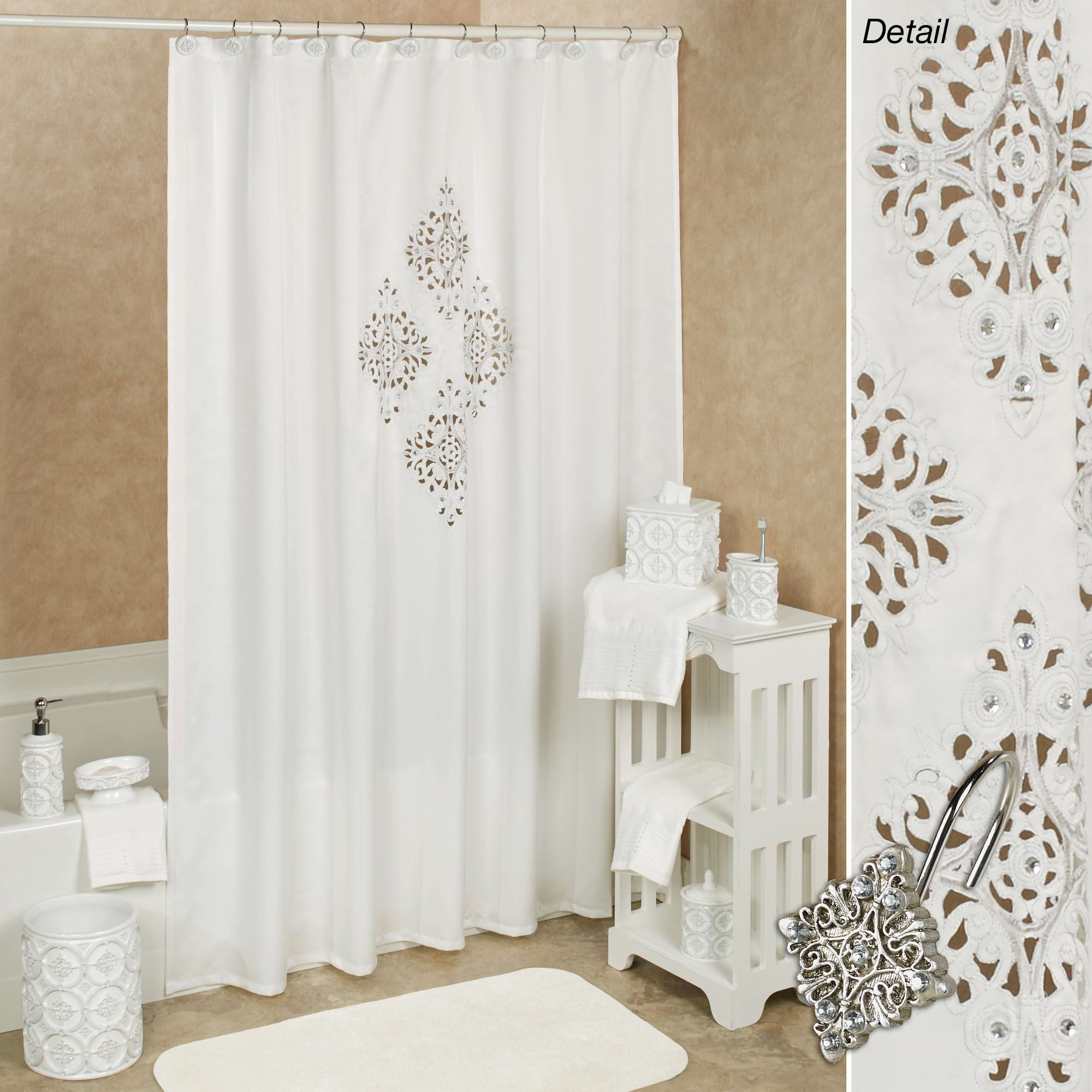 Bon Opulent Shower Curtain Off White 70 X 72