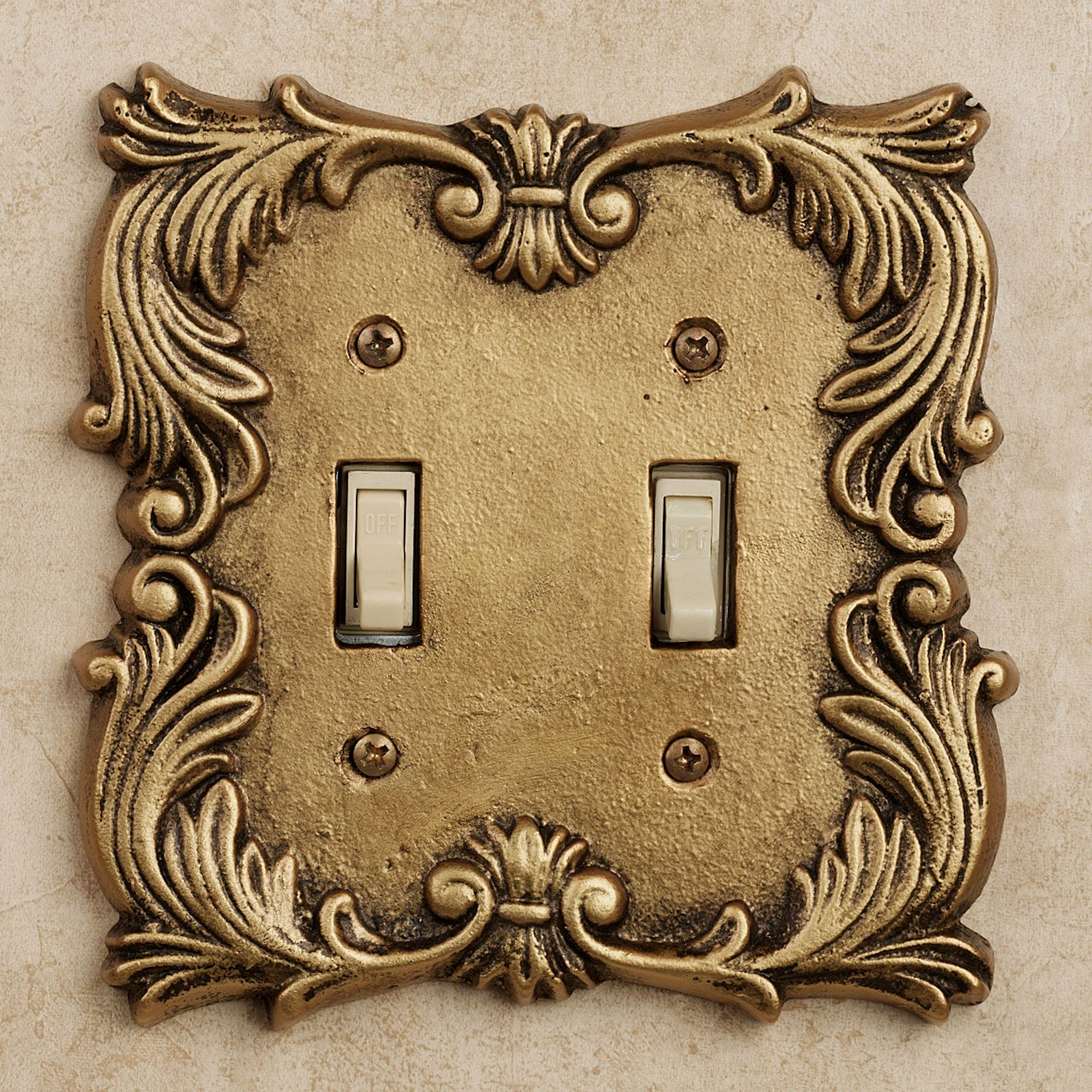 Fleur De Lis Double Switch Antique Br