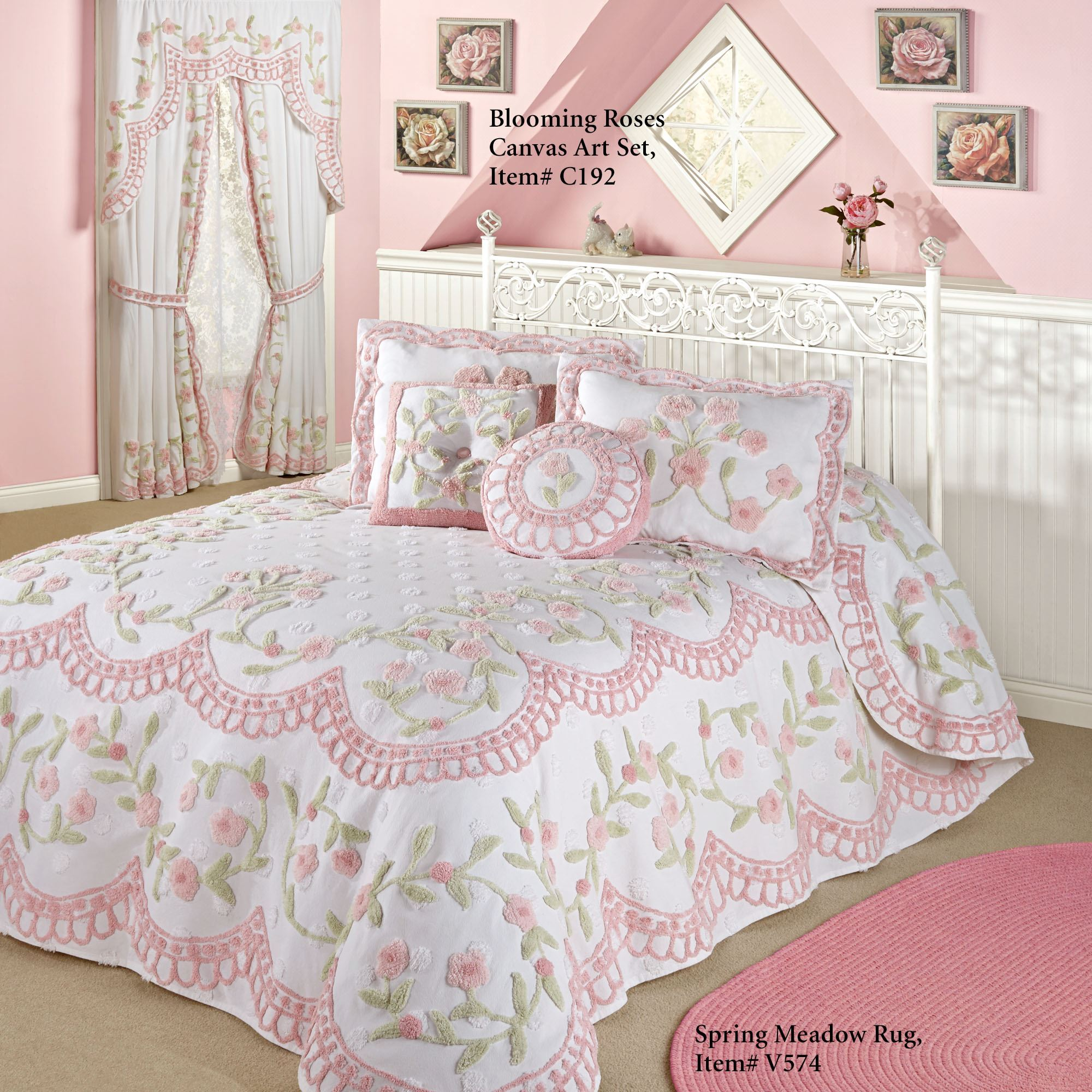Cottage Charm Floral Chenille Oversized Bedspread