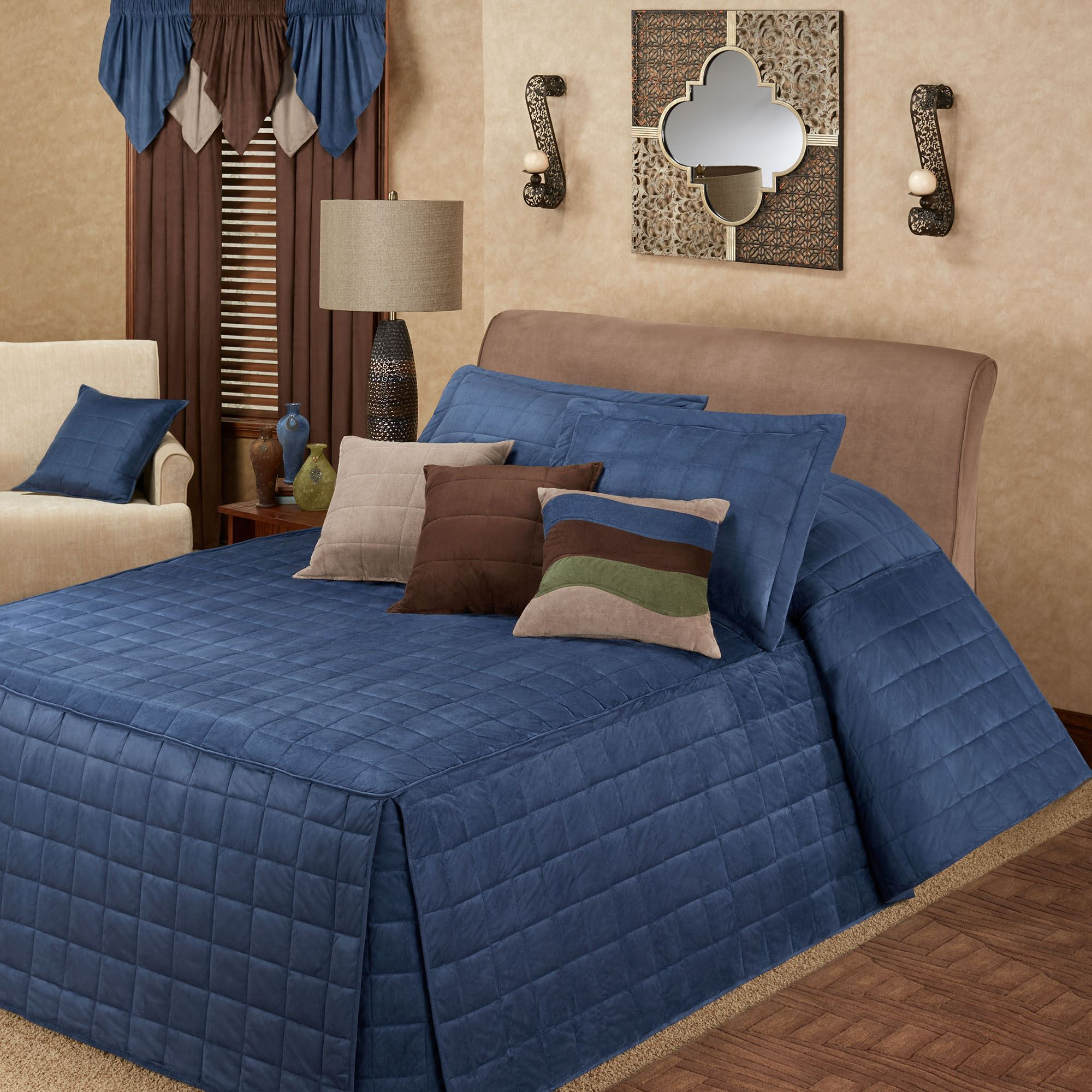Camden Indigo Grande Oversized Fitted Bedspread Bedding