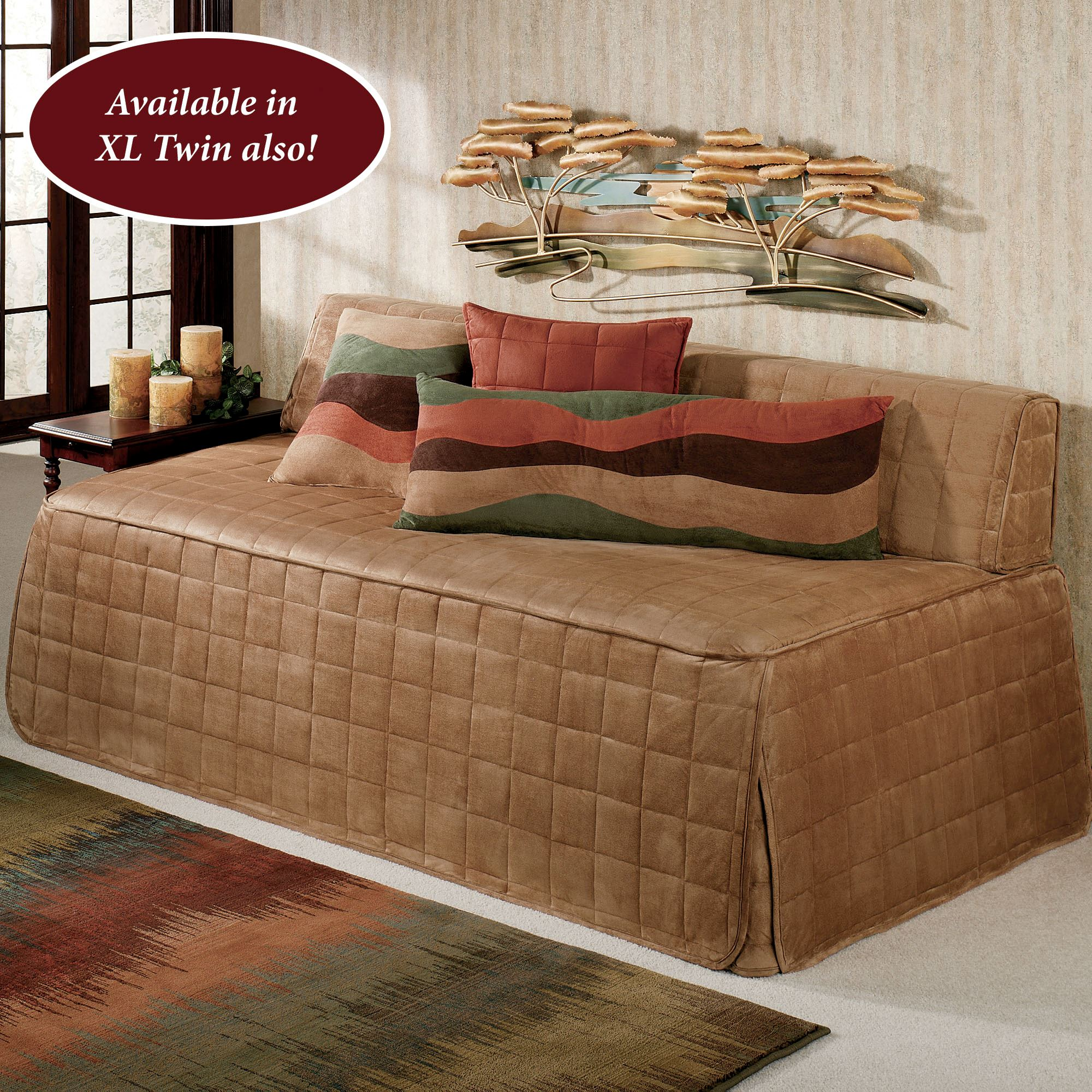 - Camden Camel Quilted Hollywood Daybed Cover