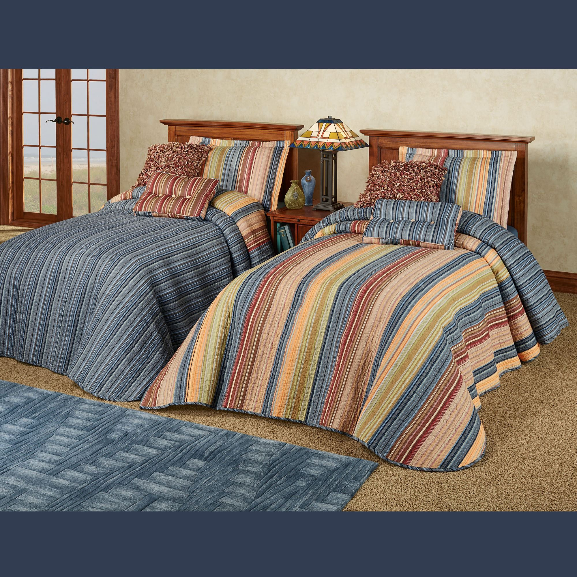 Katelin Reversible Striped Quilted Oversized Bedspread