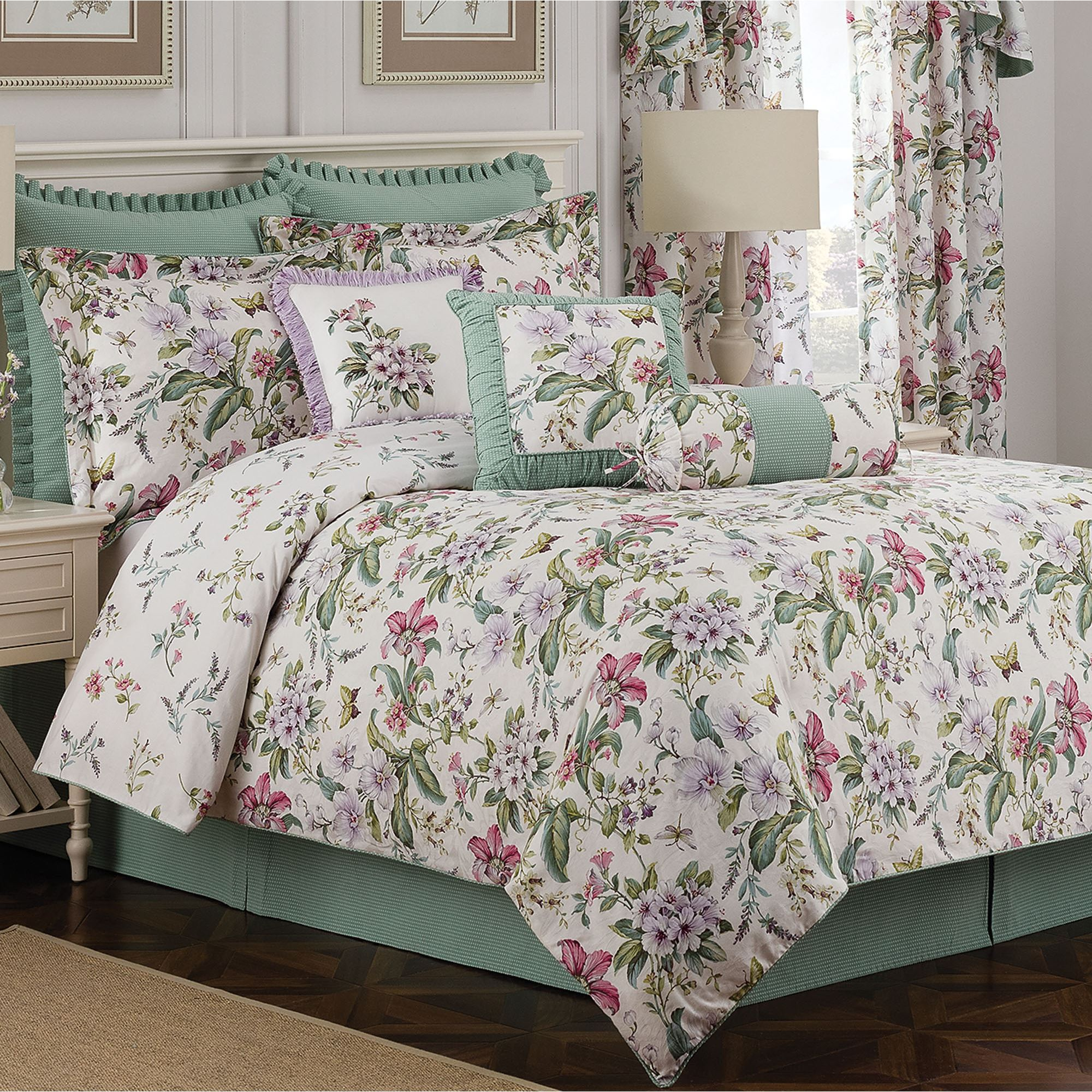Palace Green Butterfly Floral Comforter Bedding