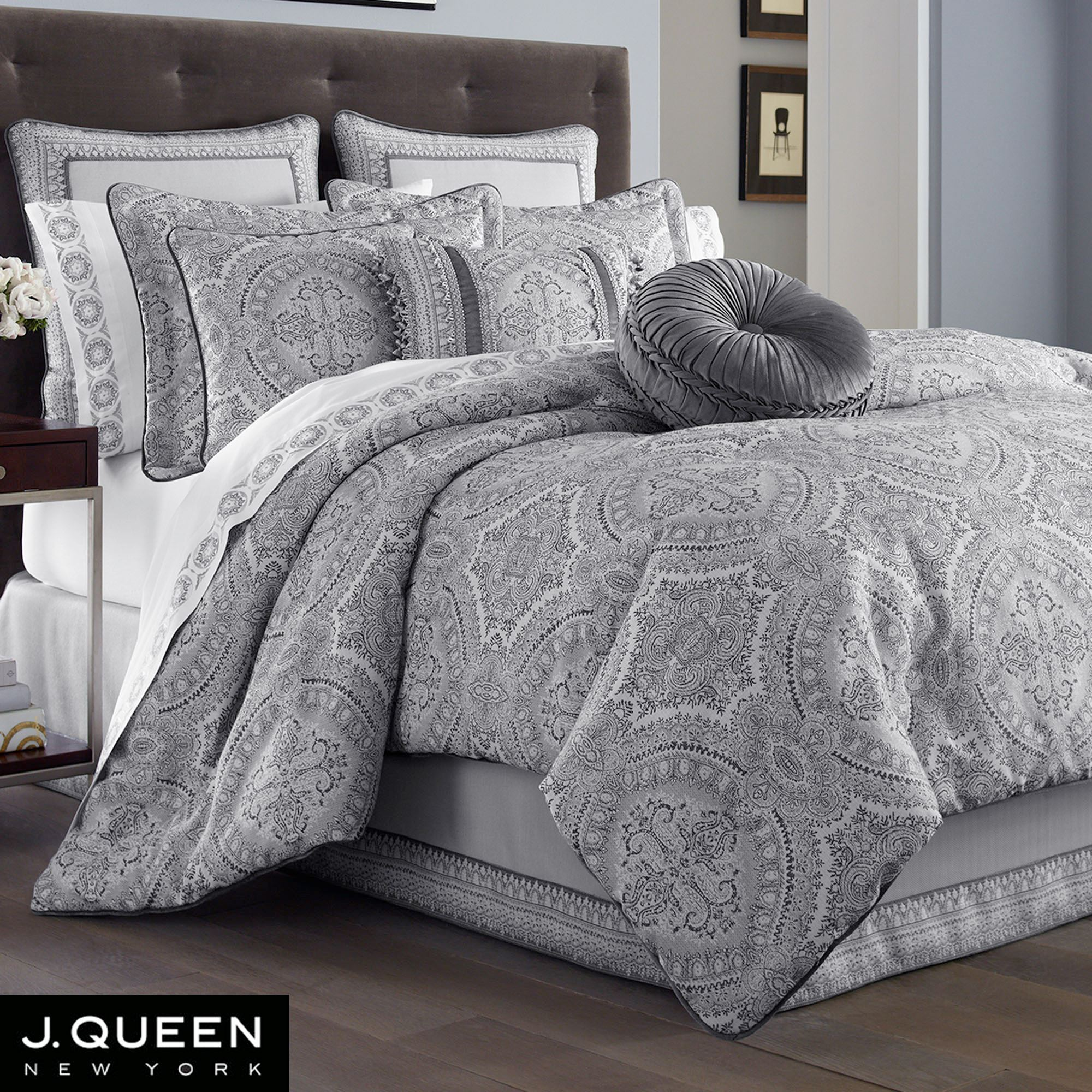 Colette Silver Comforter Bedding By J Queen New York