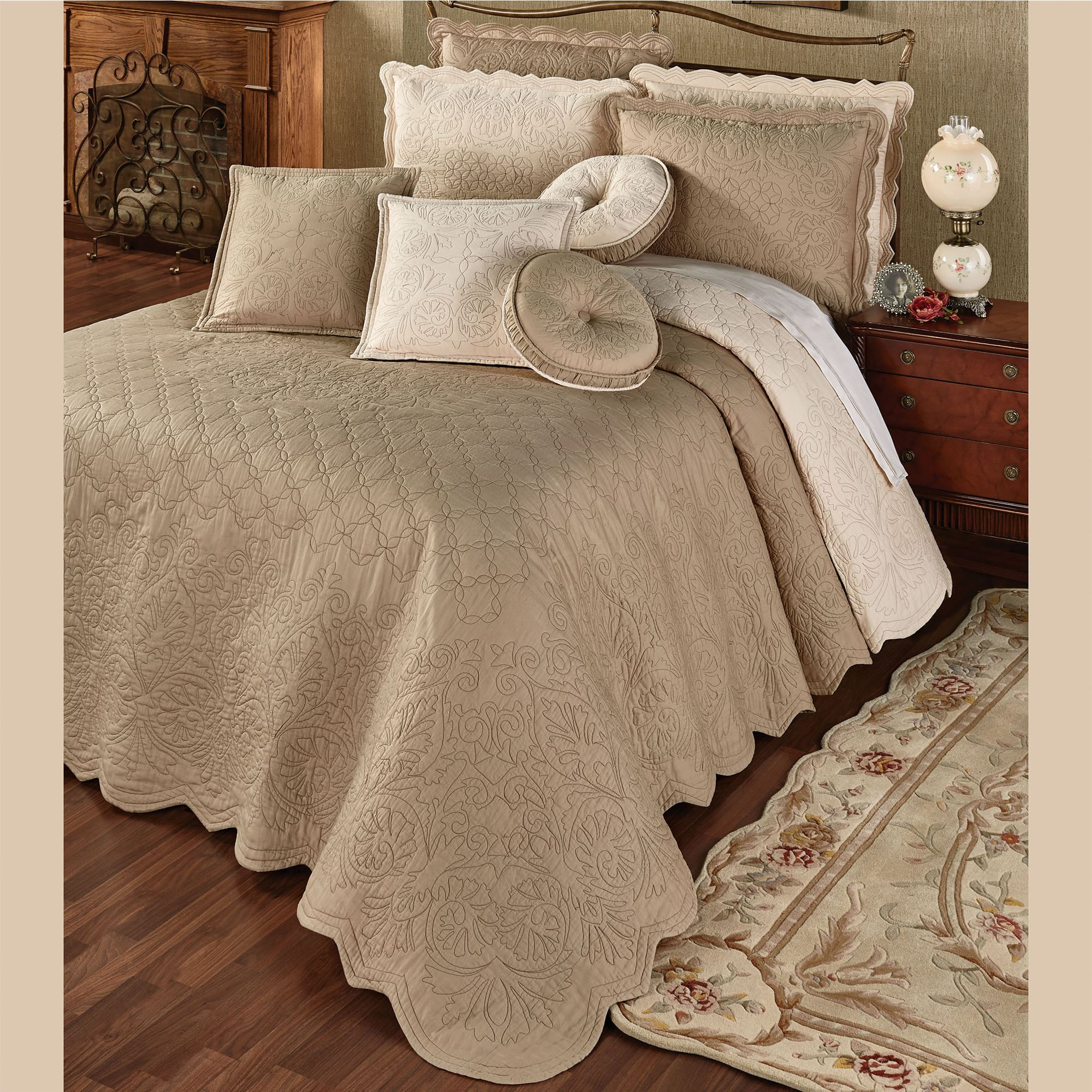 Everafter Almond Reversible Quilted Oversized Bedspread