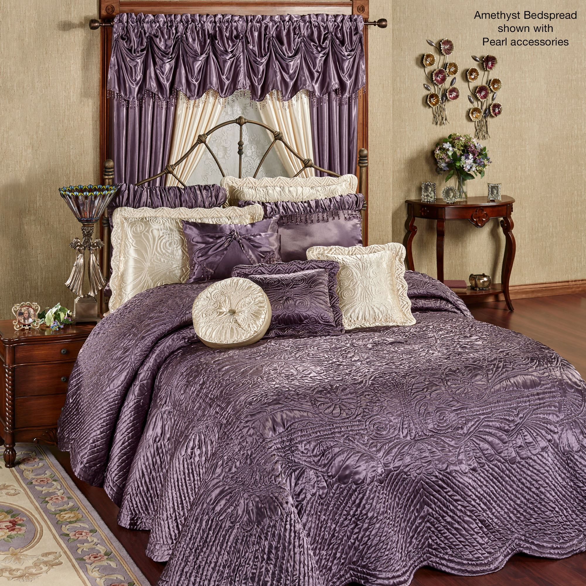 Portia Ii Amethyst Poly Satin Quilted Oversized Bedspread