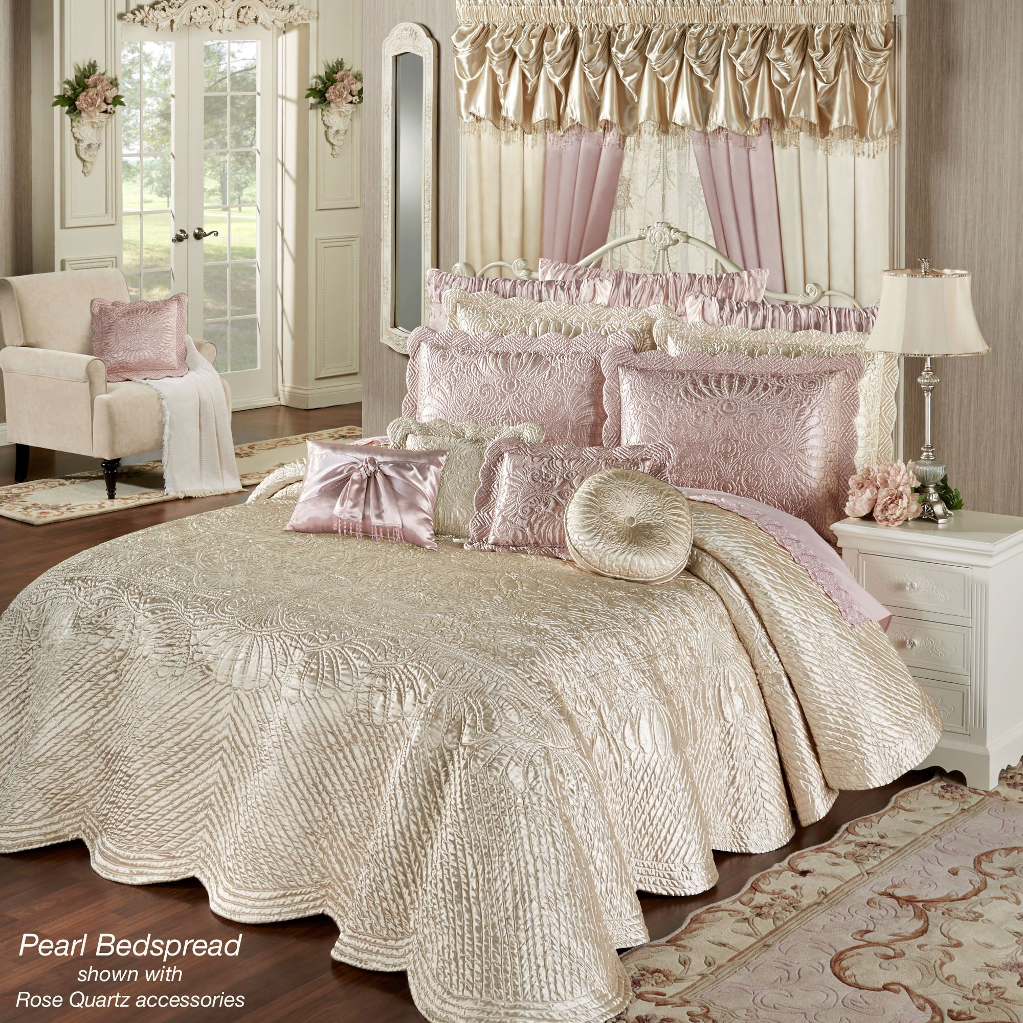 Portia Ii Pearl Poly Satin Quilted Oversized Bedspread Bedding