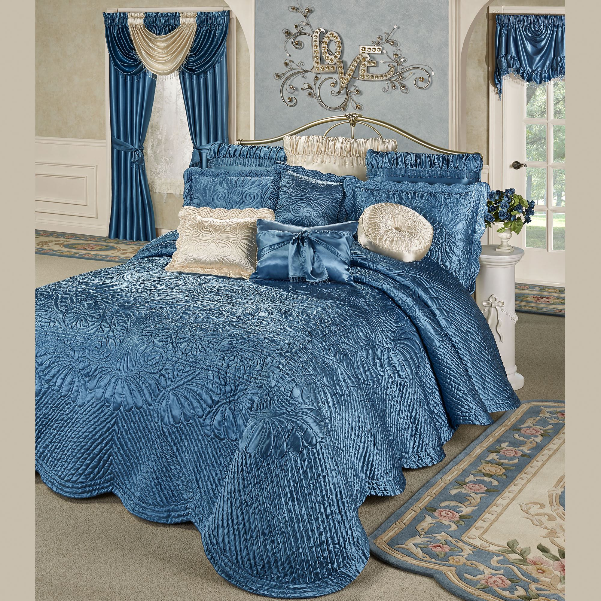 Portia Ii Sapphire Blue Poly Satin Quilted Oversized