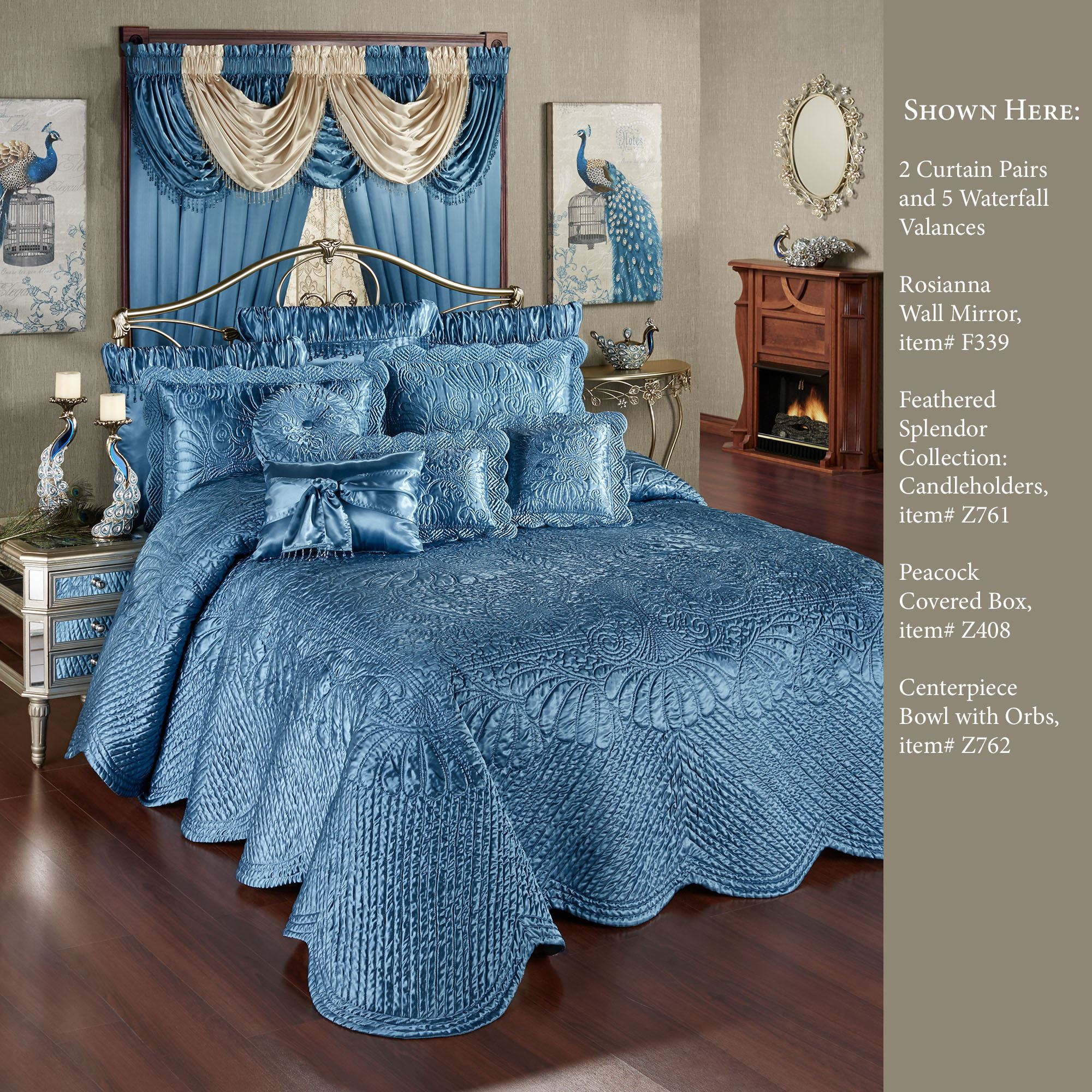 Portia Ii Sapphire Blue Quilted Oversized Bedspread Bedding