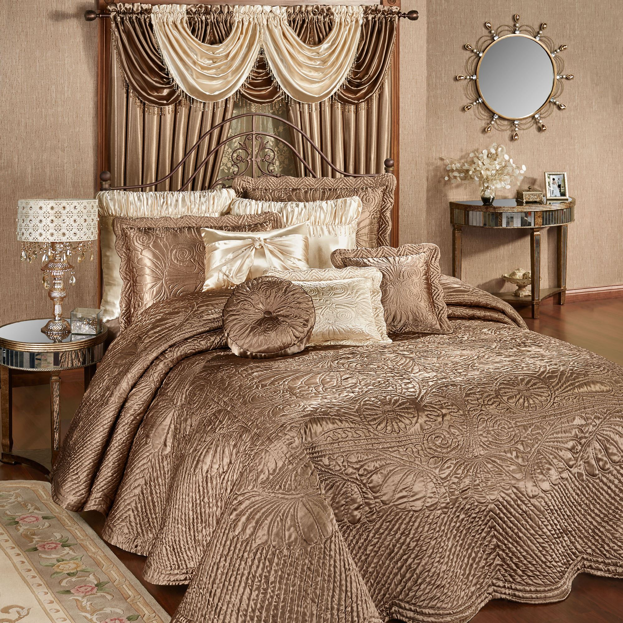 Portia Ii Smoky Topaz Quilted Oversized Bedspread Bedding