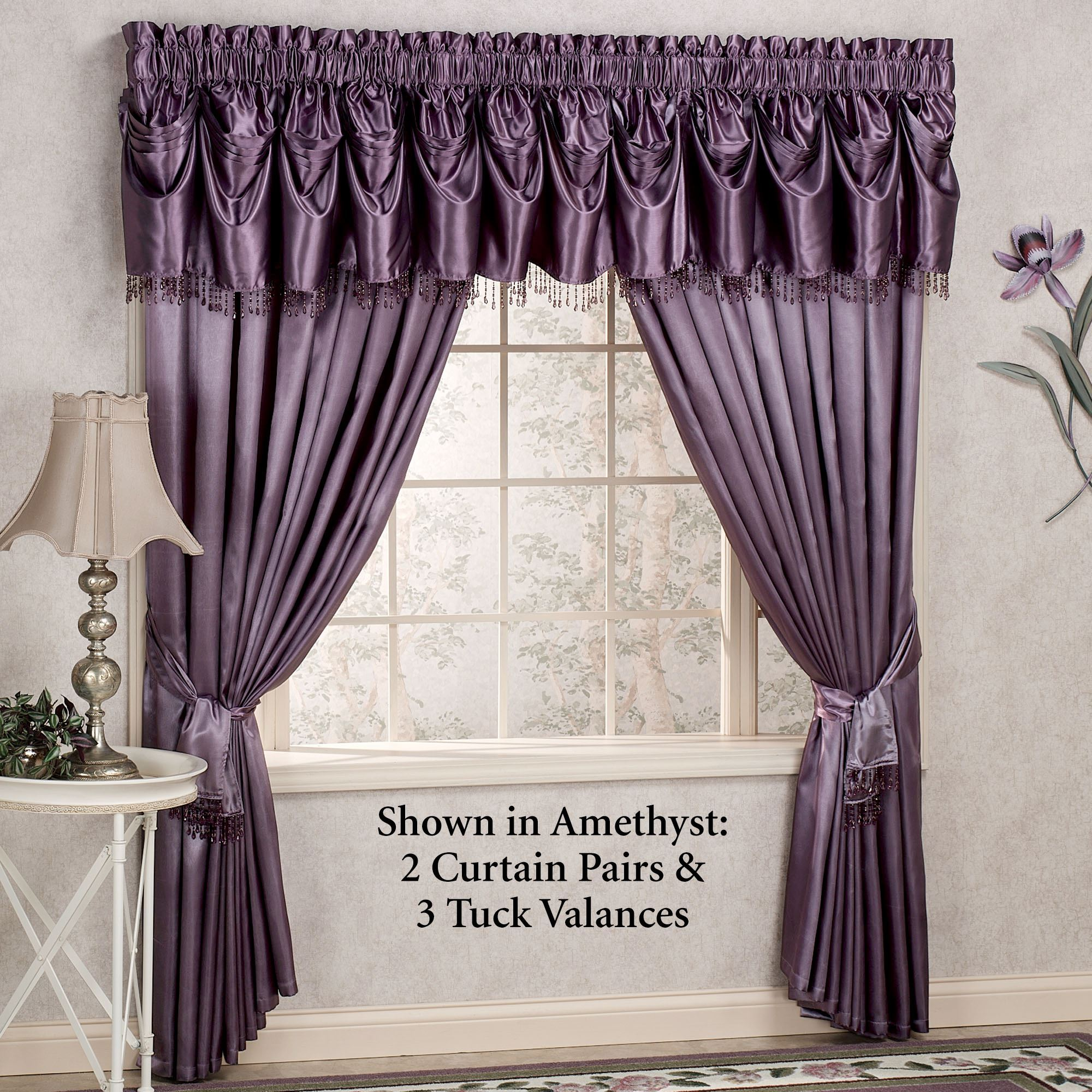 p v purple and curtain valance panels wisteria arbor valances lace pair swag