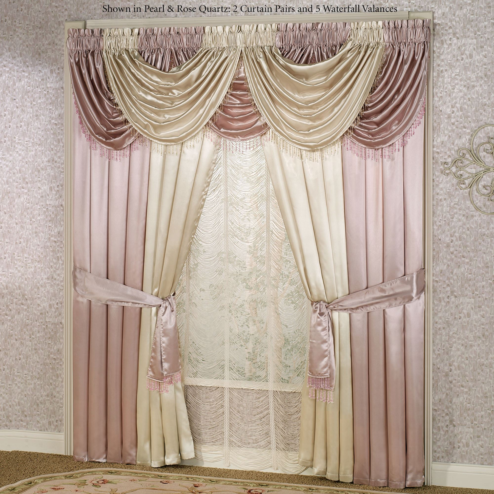 Portia Ii Poly Satin Waterfall Valance Window Treatments
