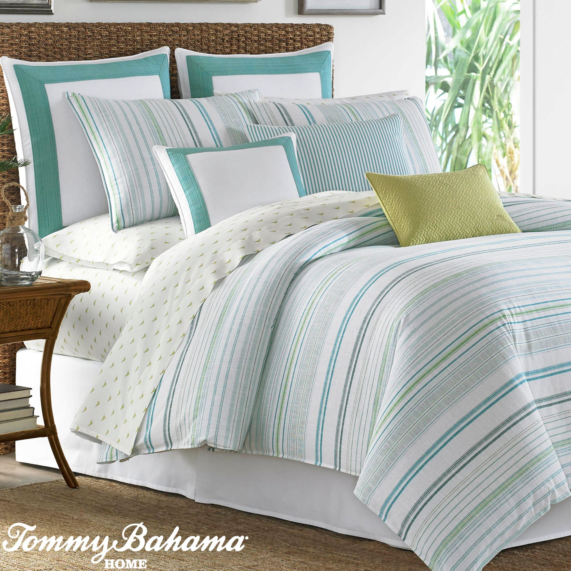 La Scala Breezer Cool Toned Striped Comforter Bedding By