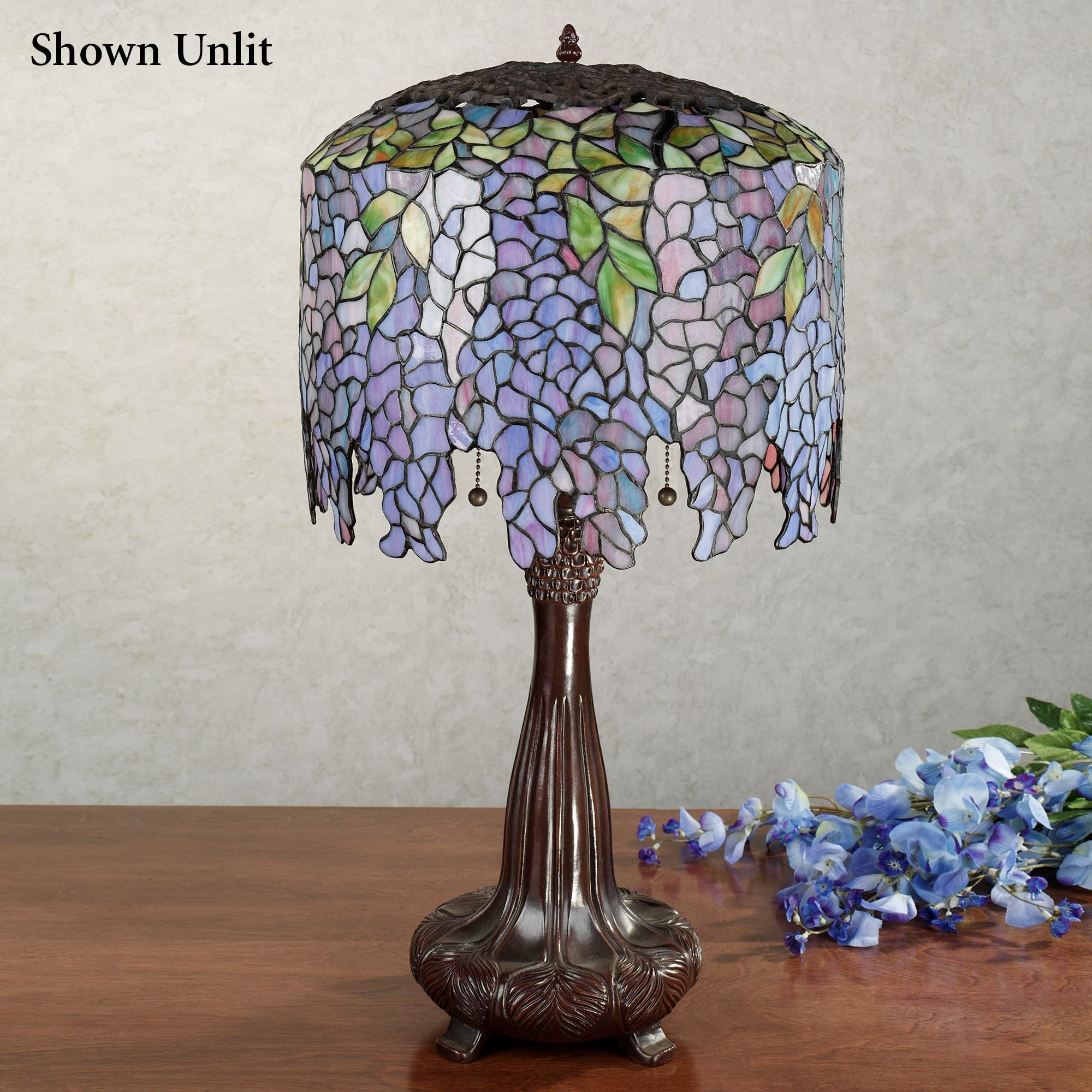 Wisteria stained glass table lamp wisteria stained glass lamp with cfl bulbs each with cfl bulb aloadofball