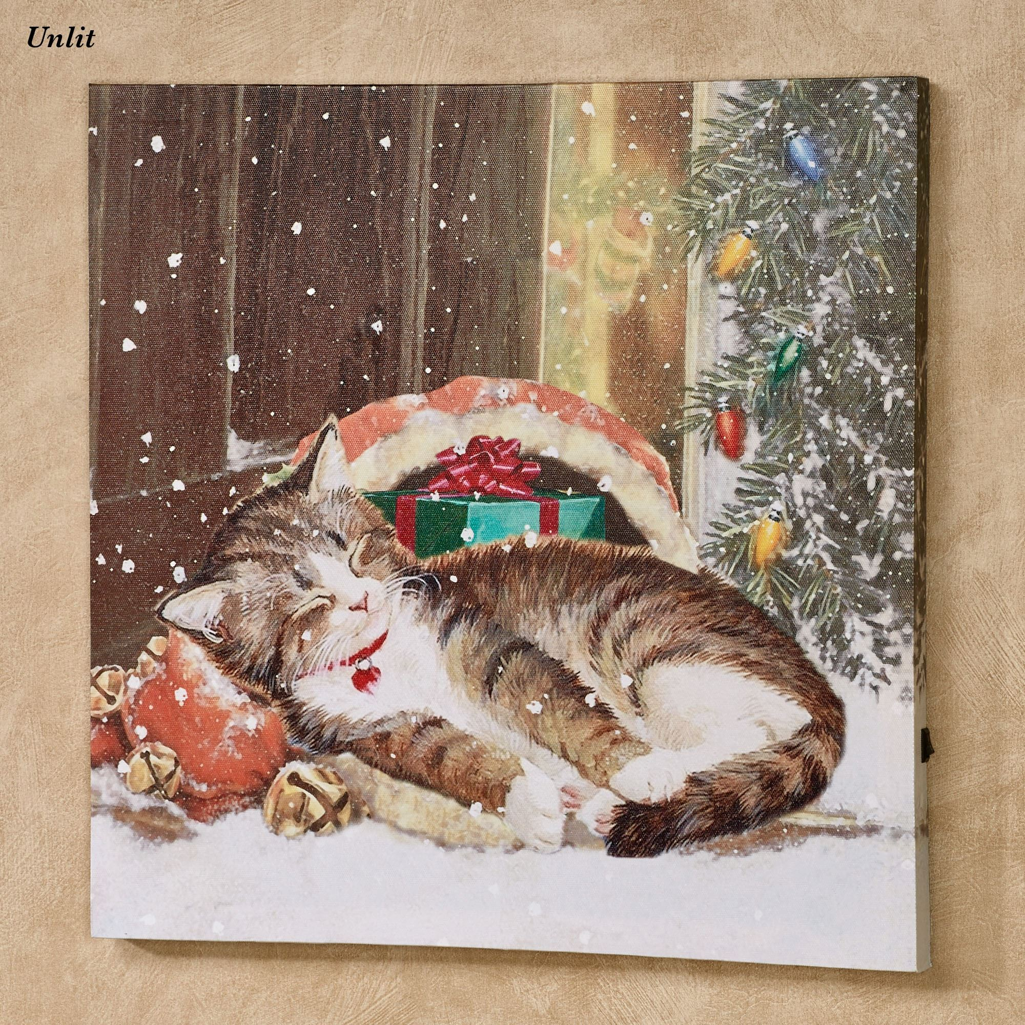 Christmas Led Canvas.Christmas Kitten Led Lighted Canvas Wall Art