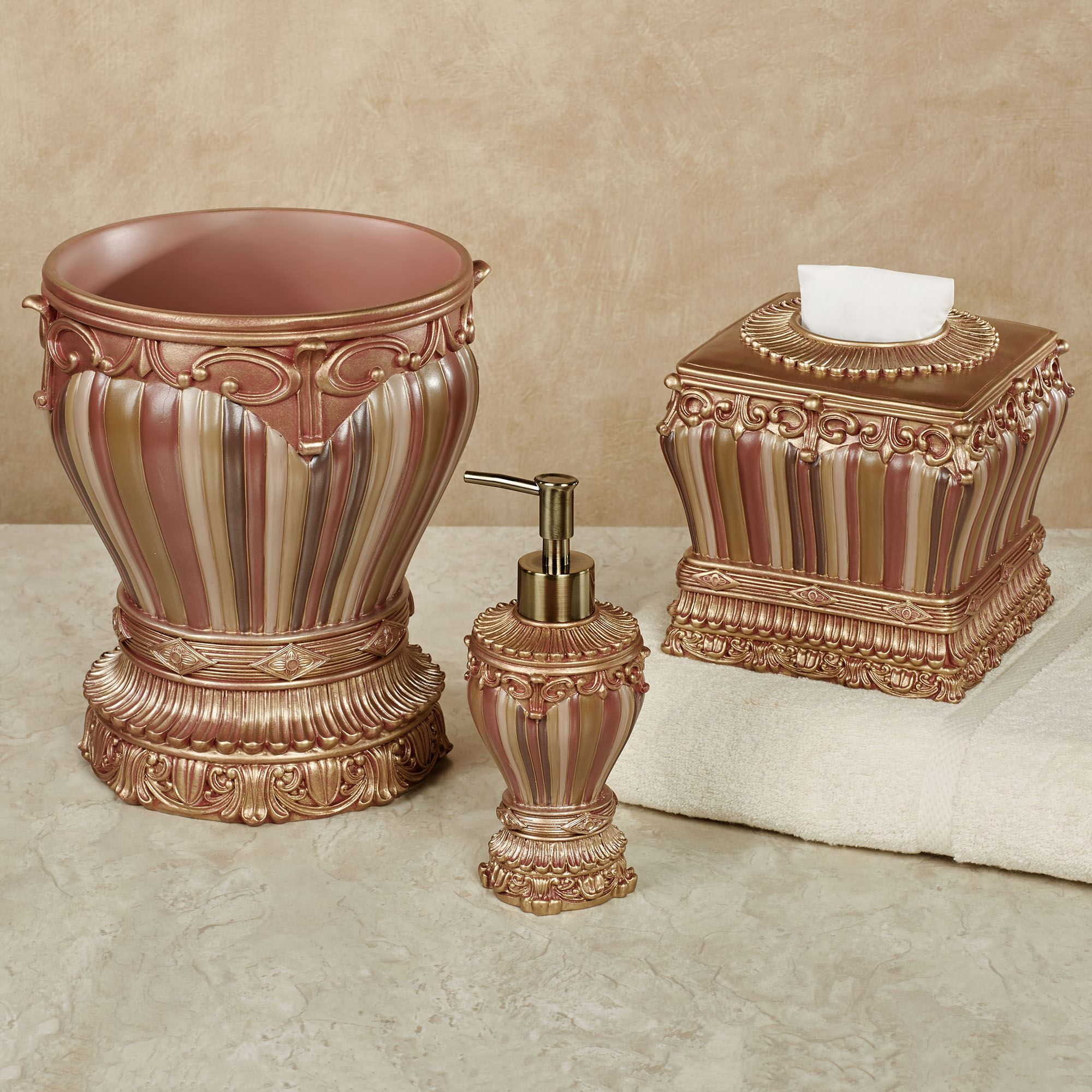 Sedona bath accessories for Blue and gold bathroom sets
