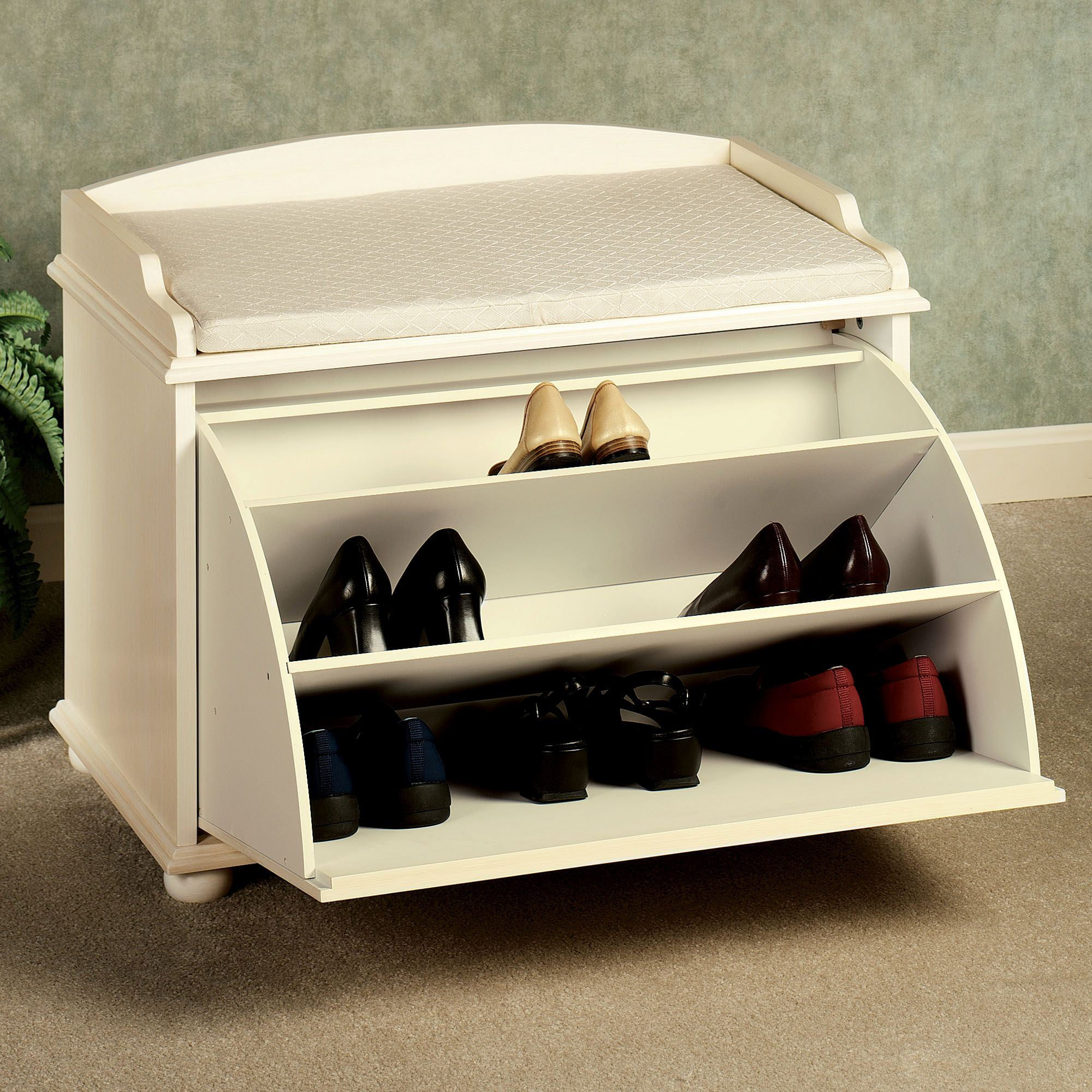 Amelia Pale Yellow Shoe Storage Bench