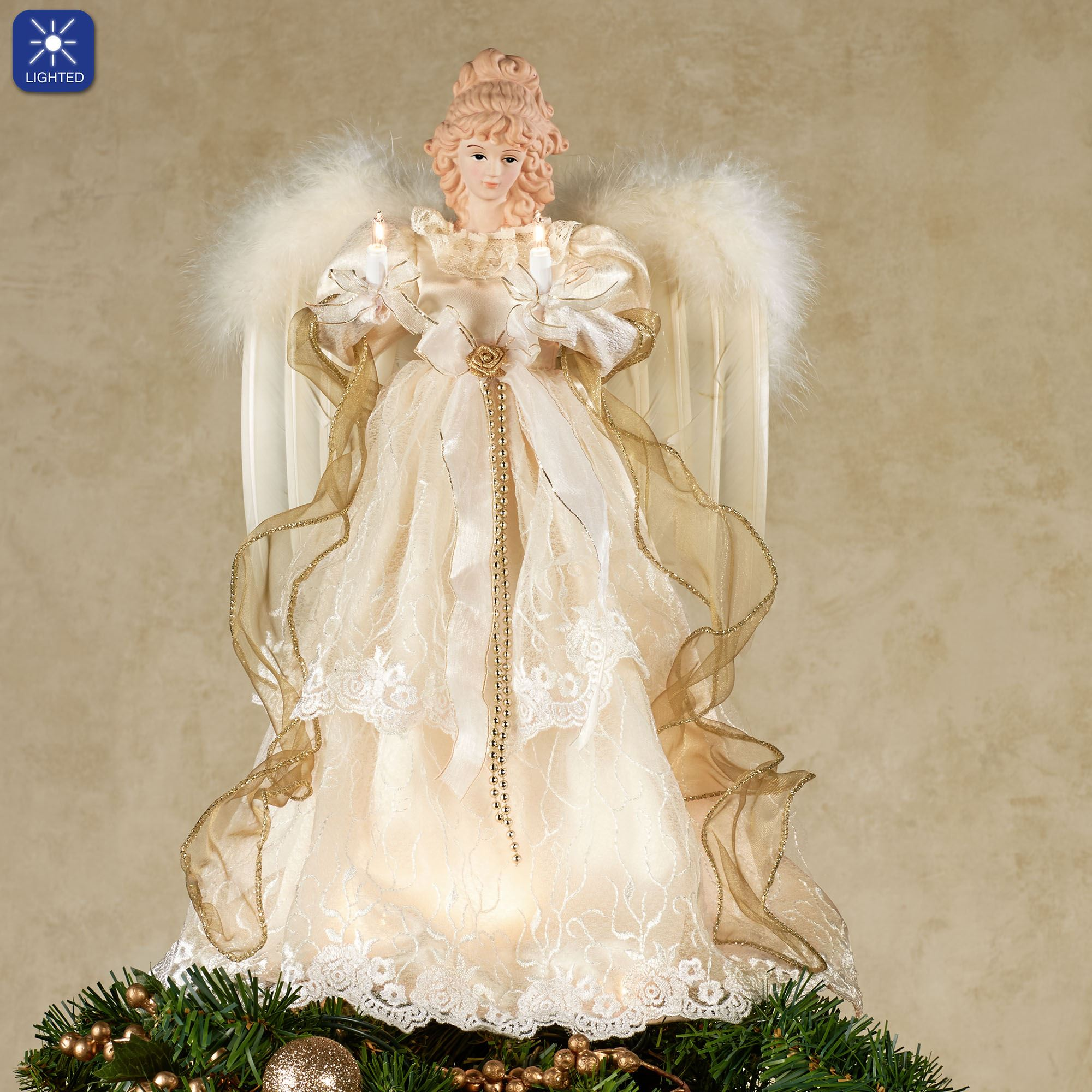 Christmas Tree Angel Tree Topper: Kurt Adler Majestic Angel Lighted Tree Topper