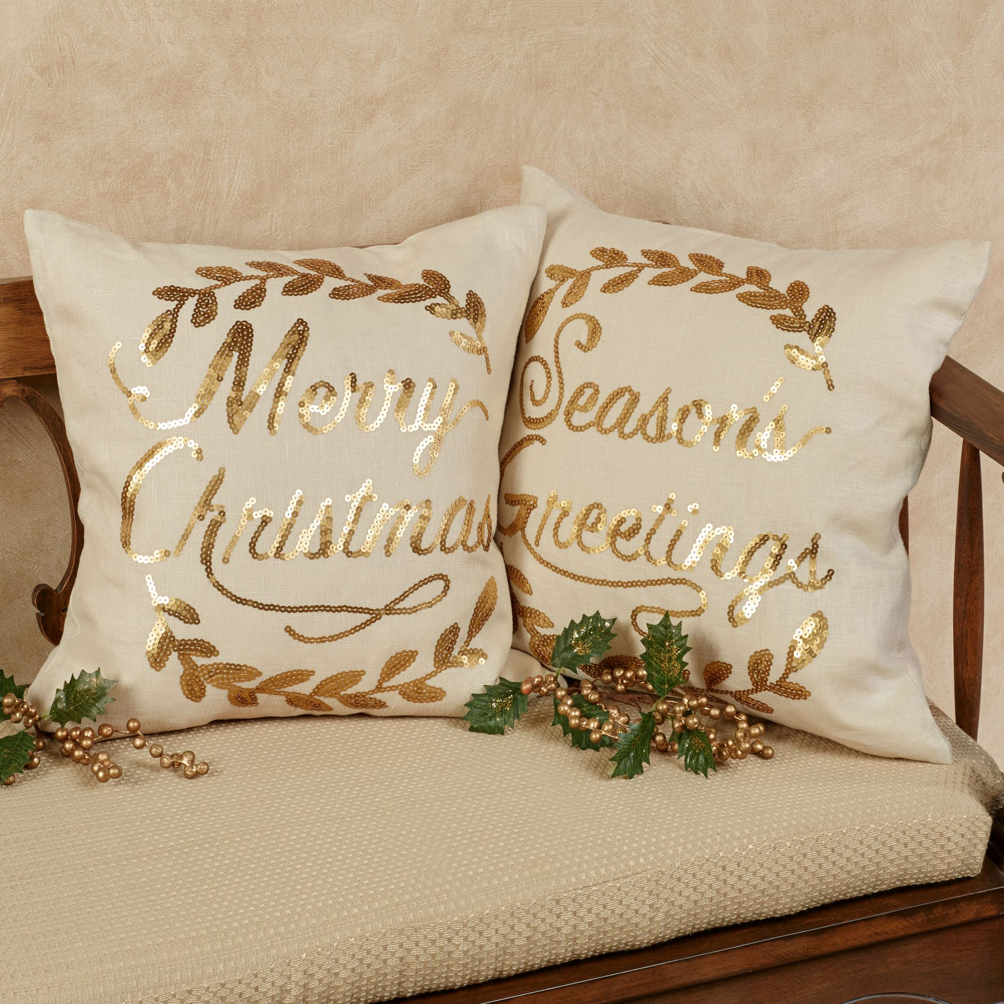 merry christmas wreath accent pillow light cream 16 square touch to zoom