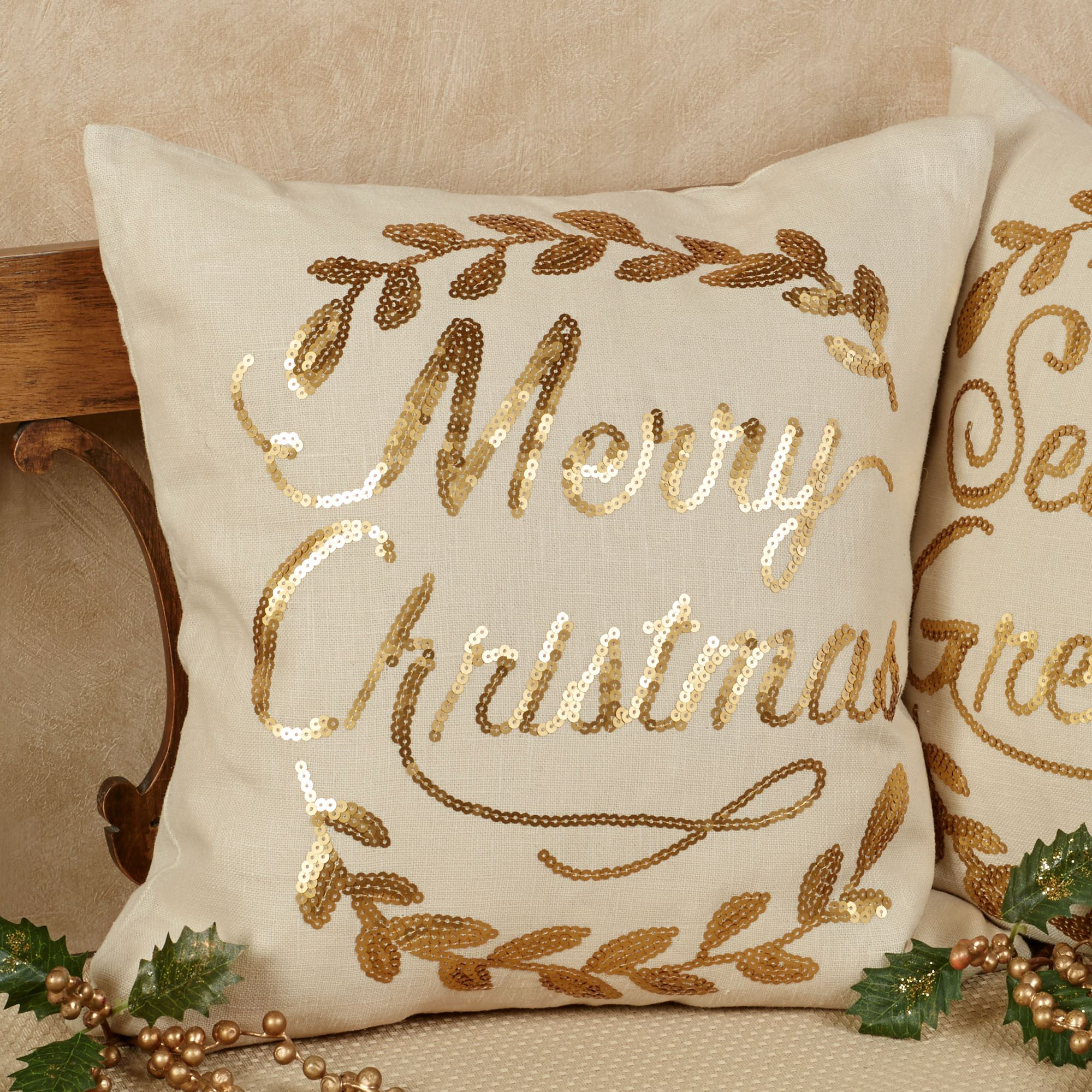 merry christmas wreath accent pillow light cream 16