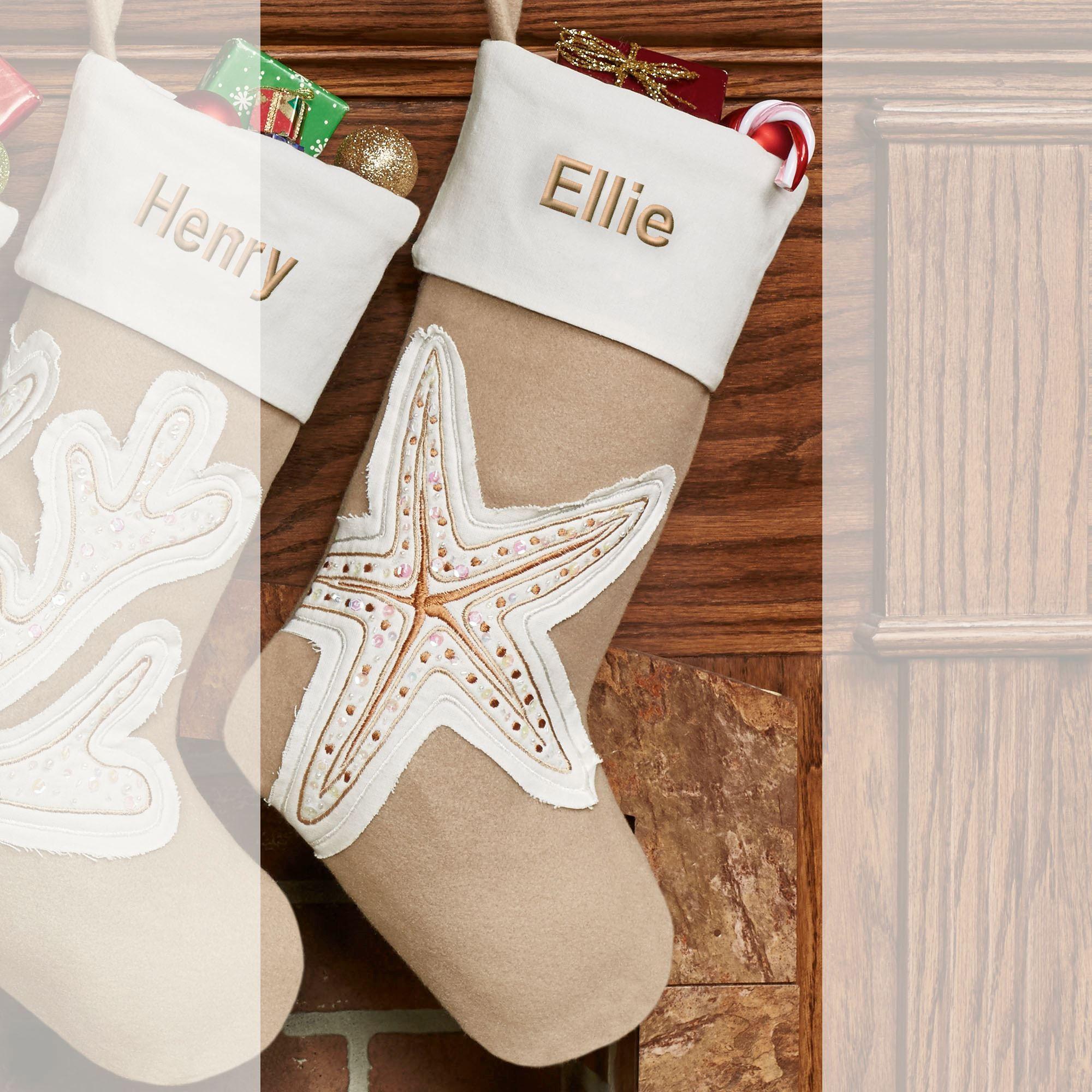 starfish christmas stocking tan - Coastal Christmas Stockings